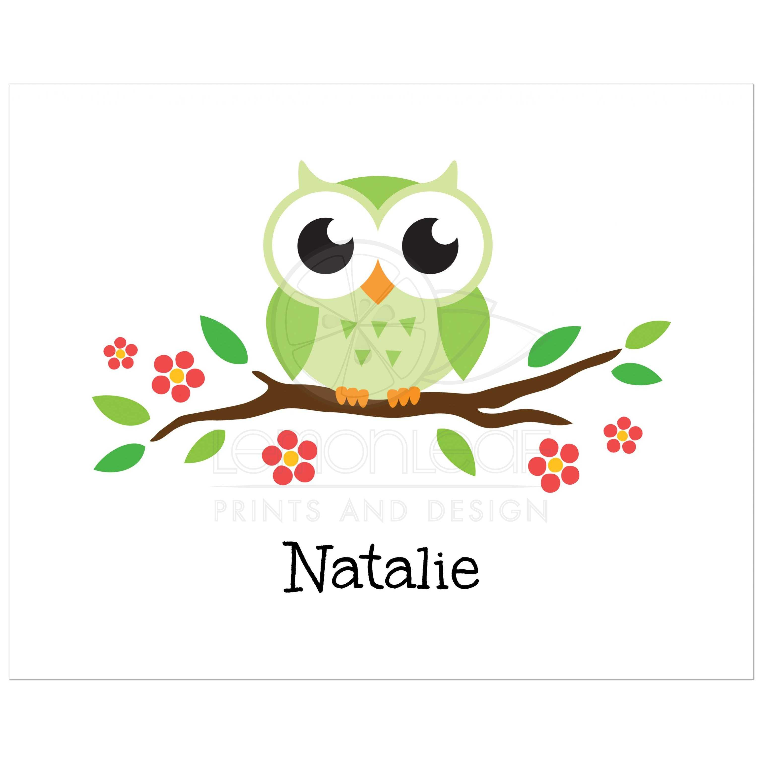 Owl Nursery Wall Art Print With Green Bird On Flowering Branch. Cute Design  For Kids