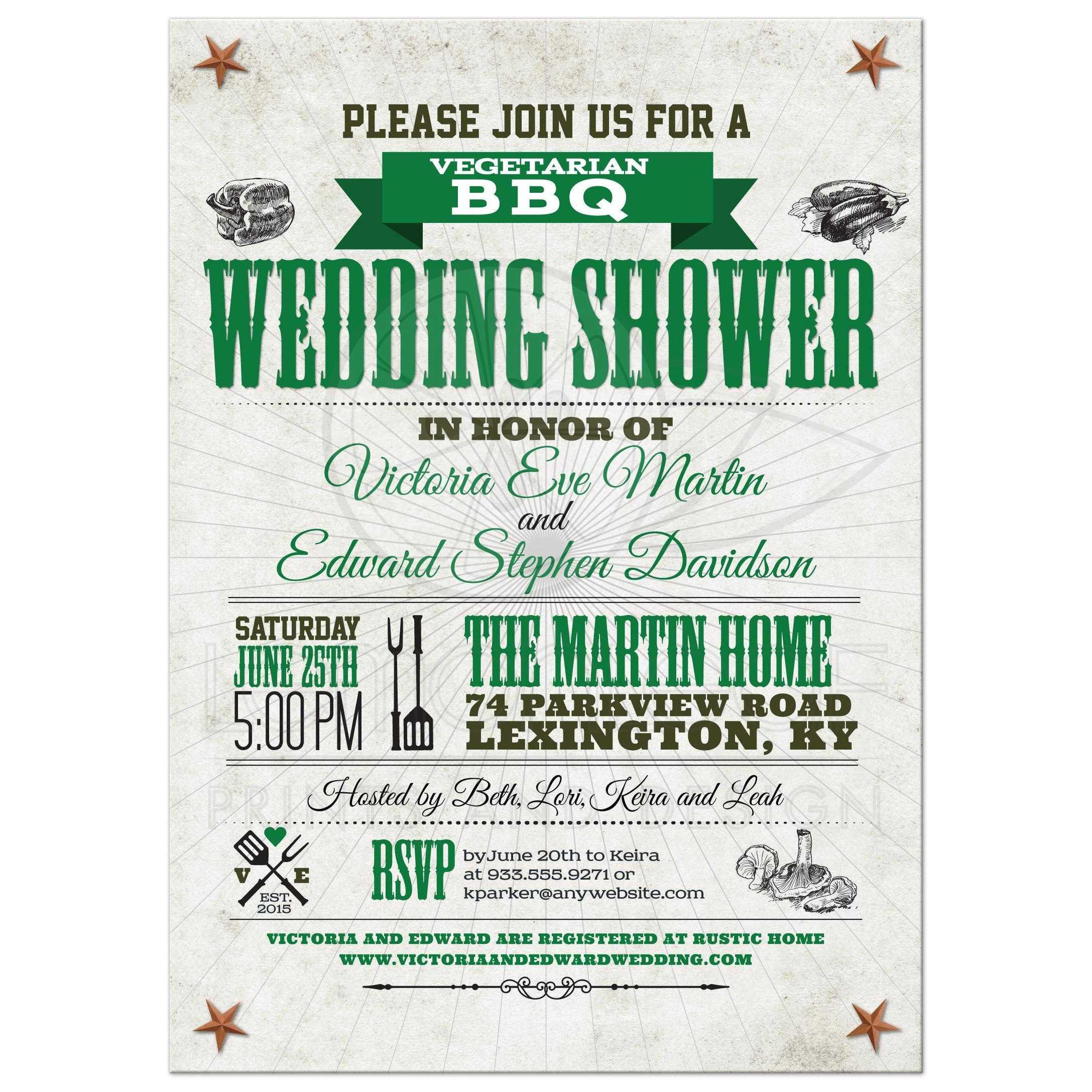 rustic vegetarian bbq wedding bridal shower green invitation