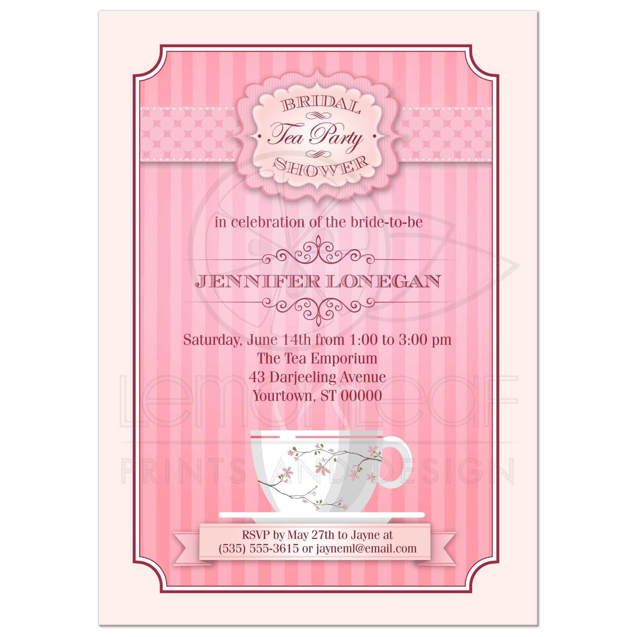 53bcfbbc884c Pink Tea Party Bridal Wedding Shower invitation ...