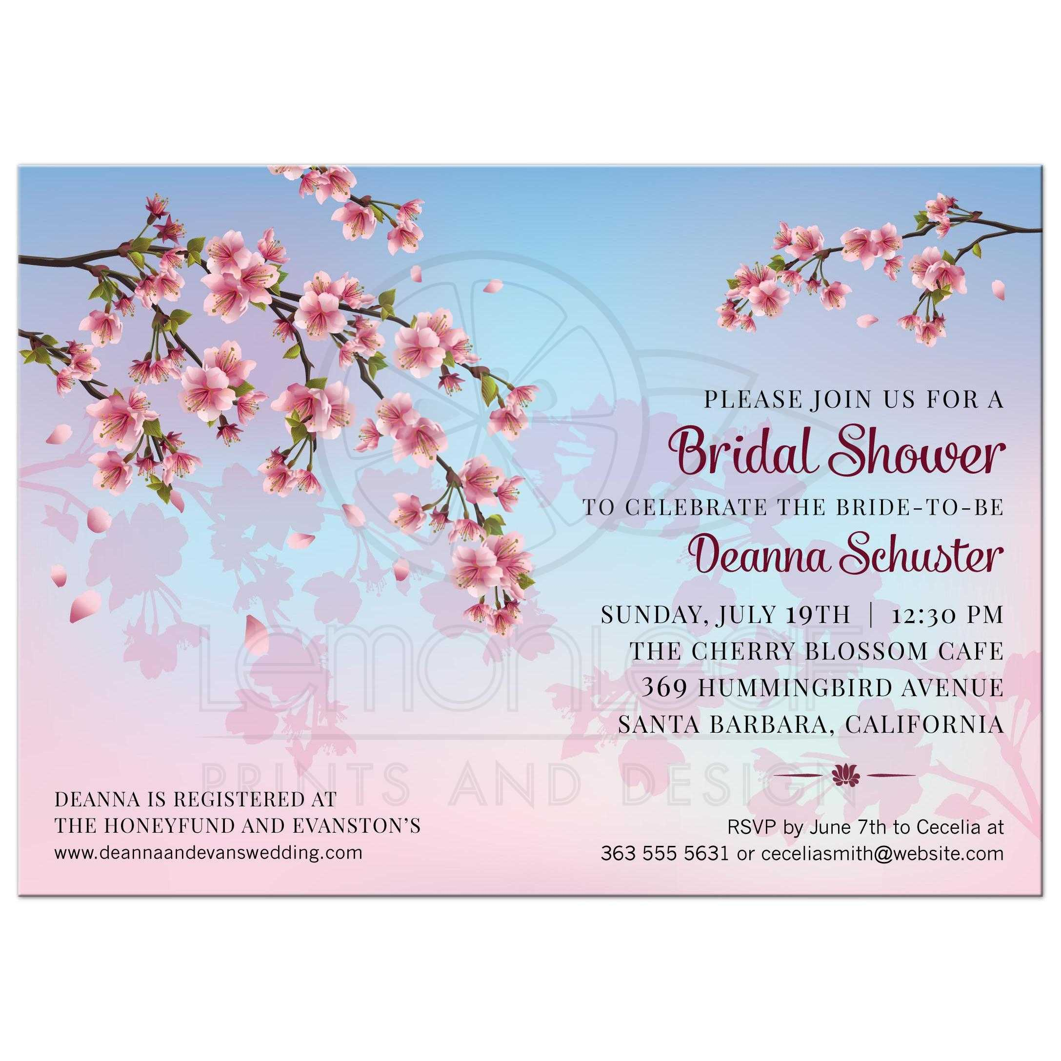 e527829b6f1f Cherry Blossom Ombre Bridal Wedding Shower invitation ...