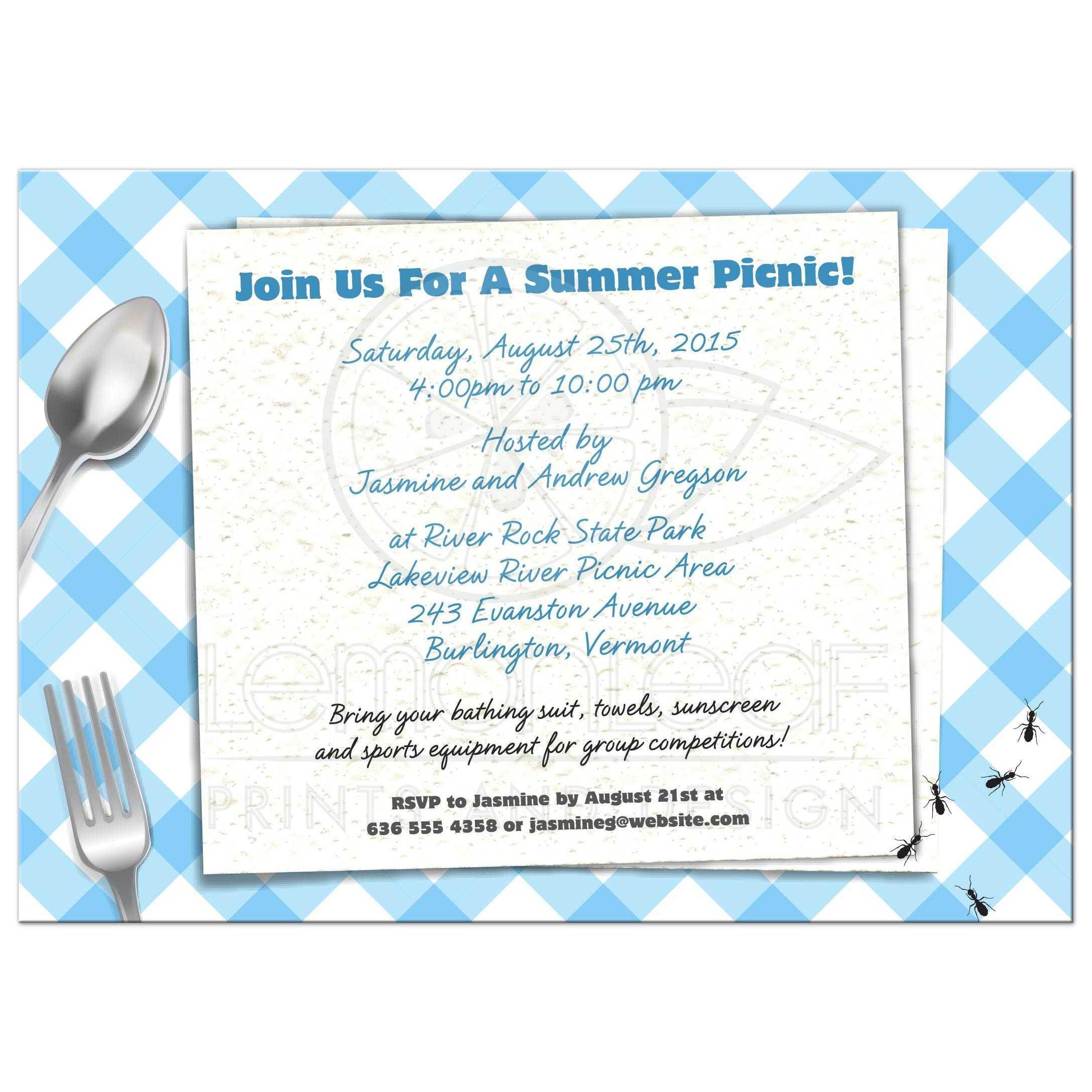 party invitation bbq picnic blue gingham