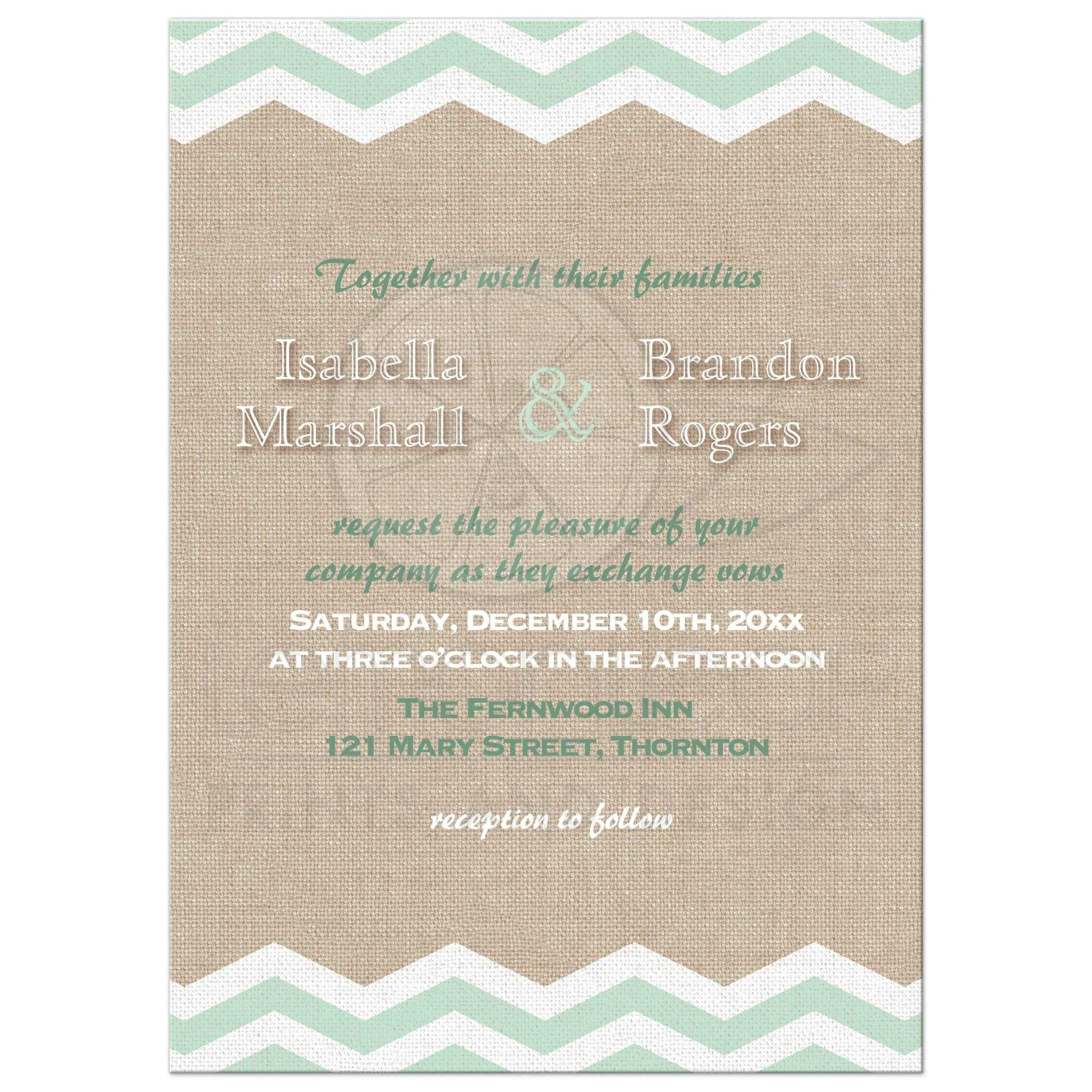 Wedding Invitation - Mint Chevrons on Burlap