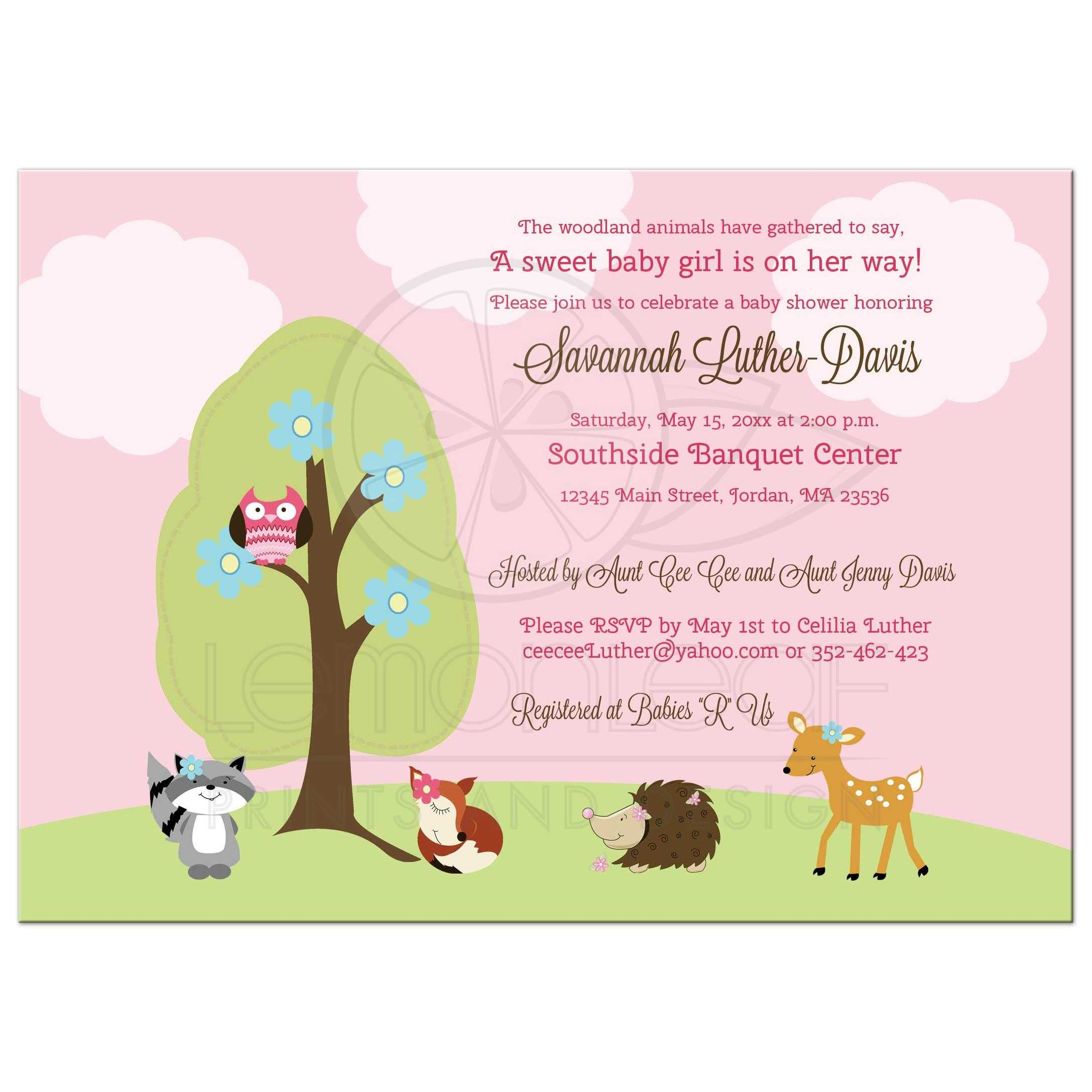 Woodland Girl Forest Animals Baby Shower Invitation