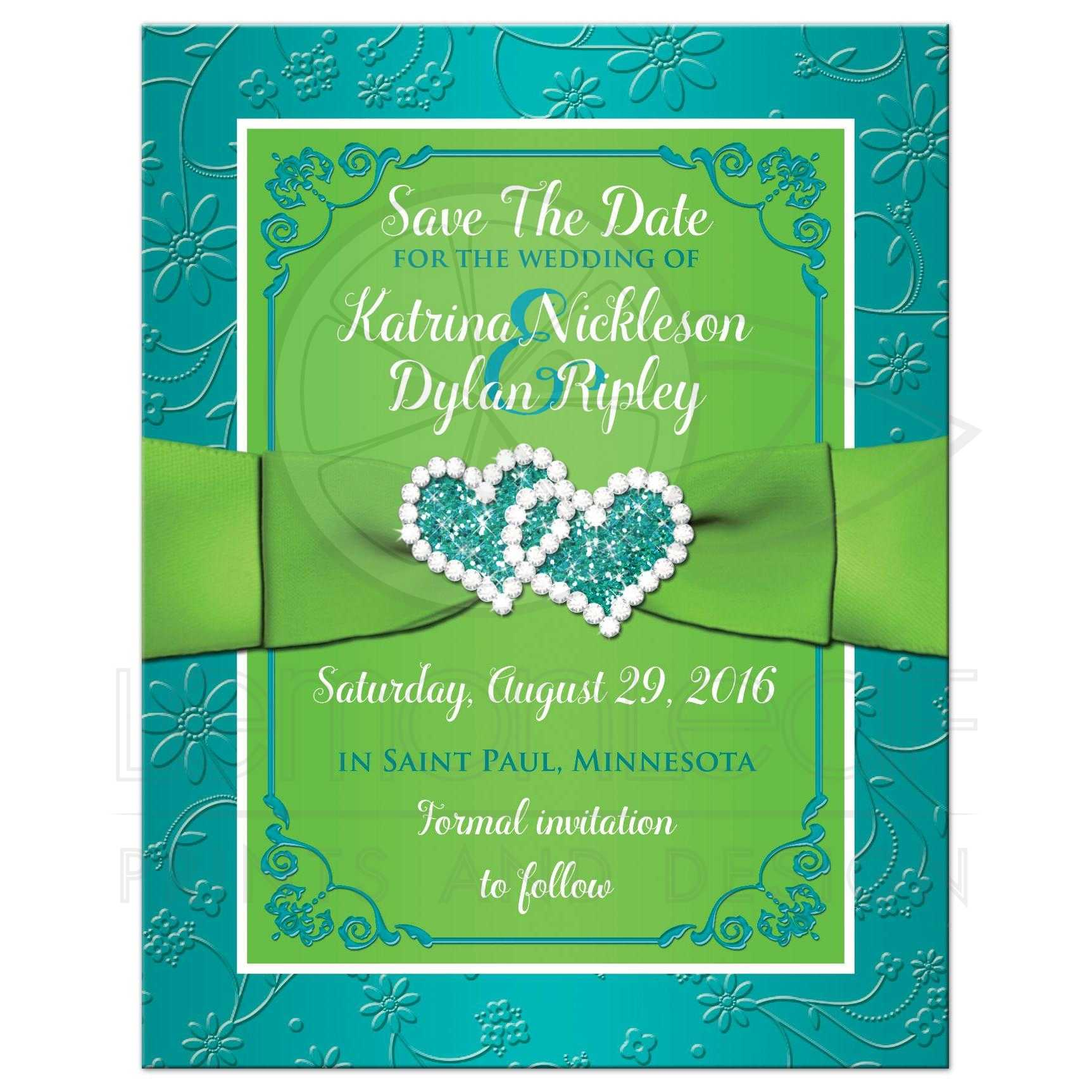 Photo Save the Date Card | Turquoise, Lime Green Floral | Printed ...