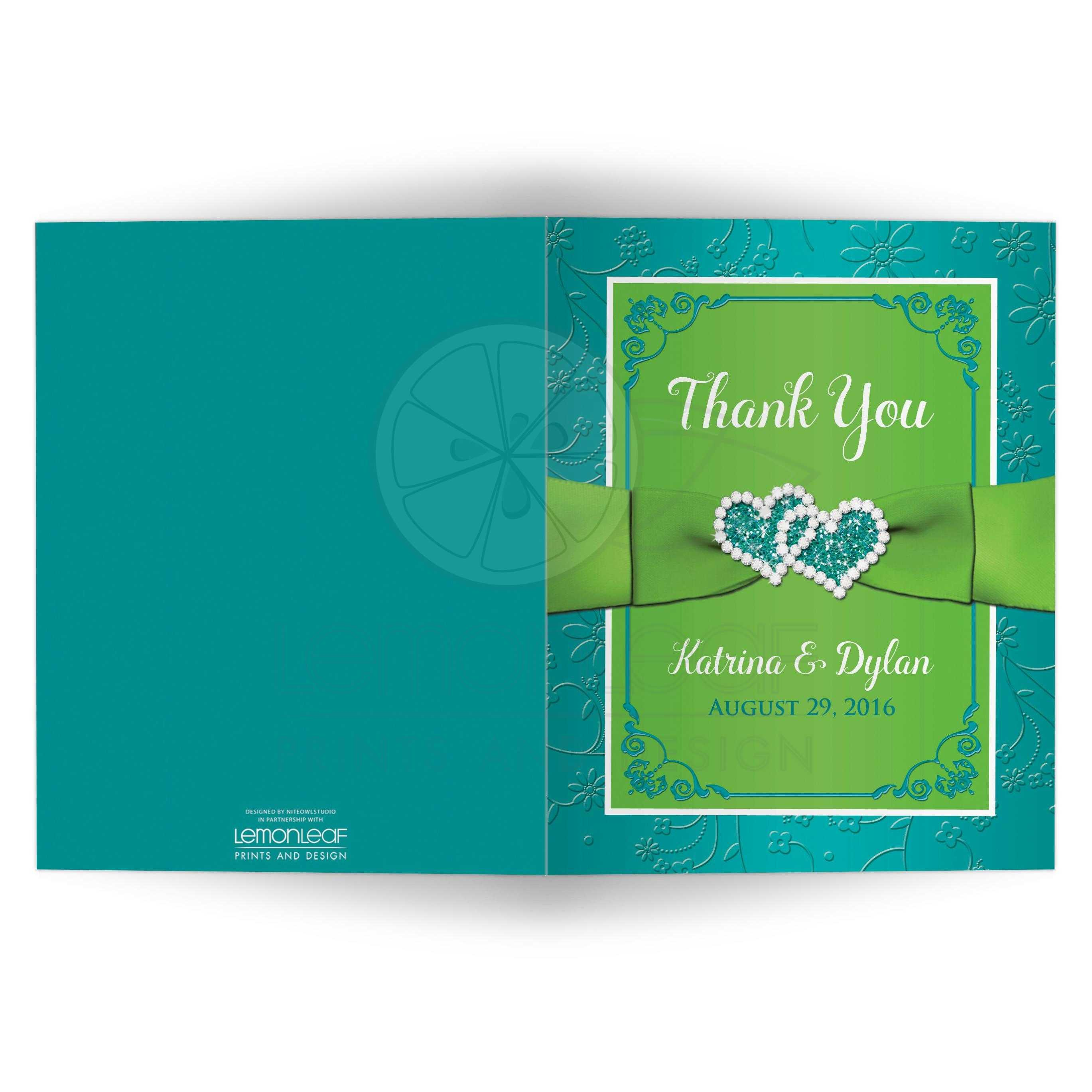 photo wedding thank you card turquoise lime green floral
