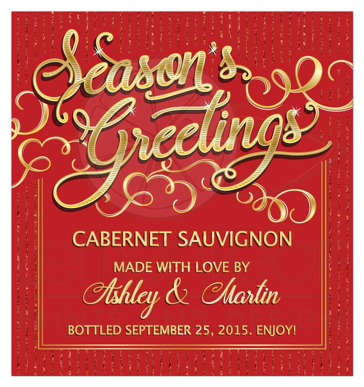 Seasons Greetings Personalized Christmas Wine Label Red And Gold