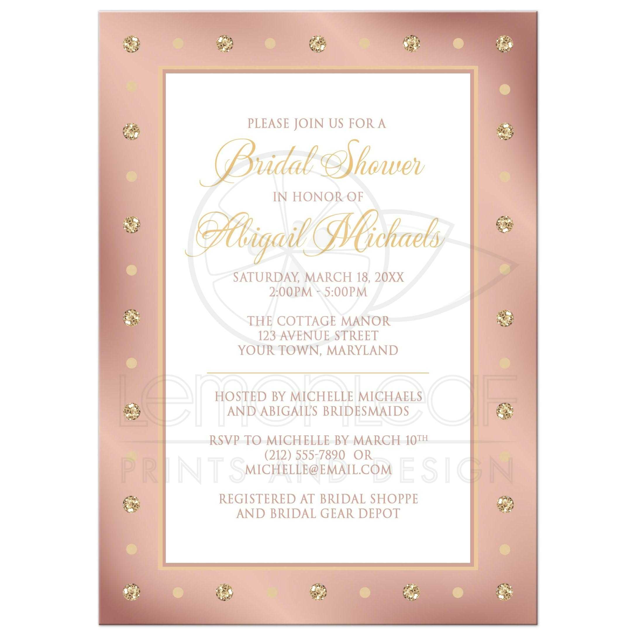 Bridal Shower Invitations Elegant Border Rose Gold