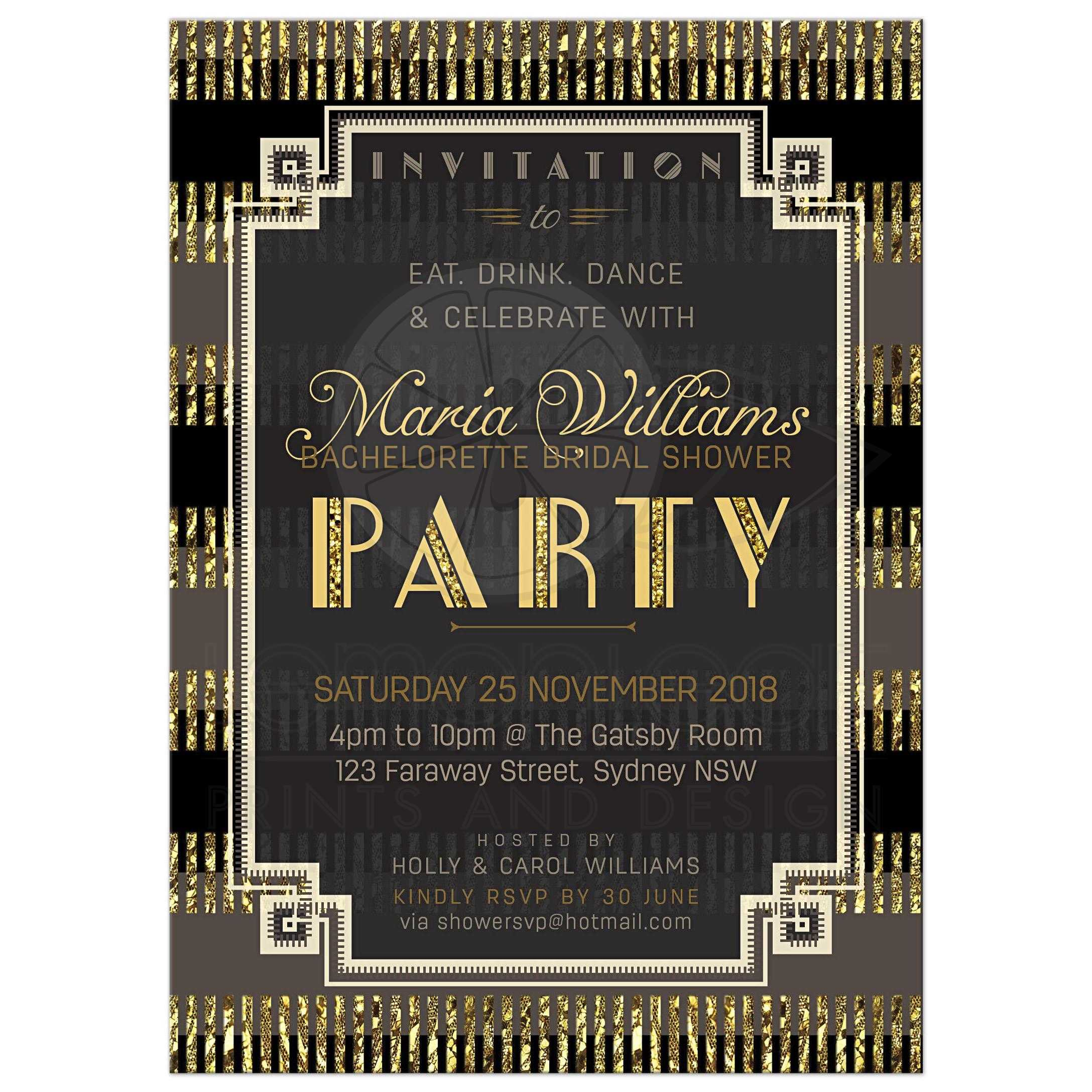 Stylish gatsby bridal shower invite black and gold glitter art deco stylish gatsby bridal shower customizable invitation filmwisefo