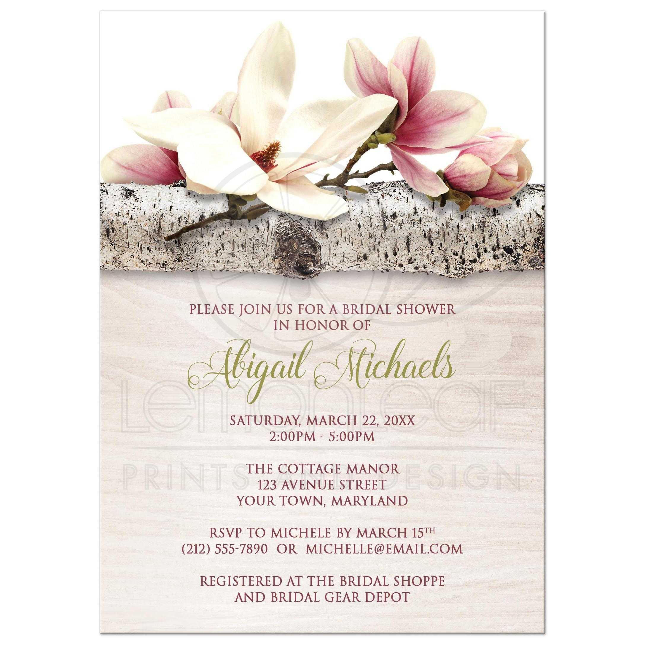 Bridal shower invitations magnolia birch light wood floral filmwisefo