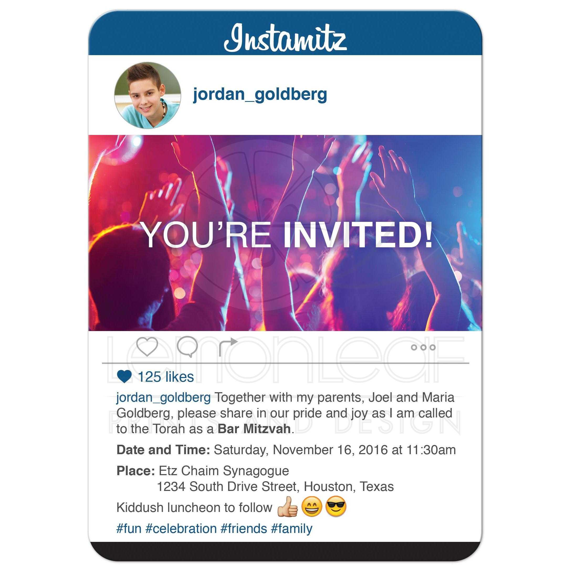 Social Media Bar Mitzvah Invitation Photo Sharing Hashtag
