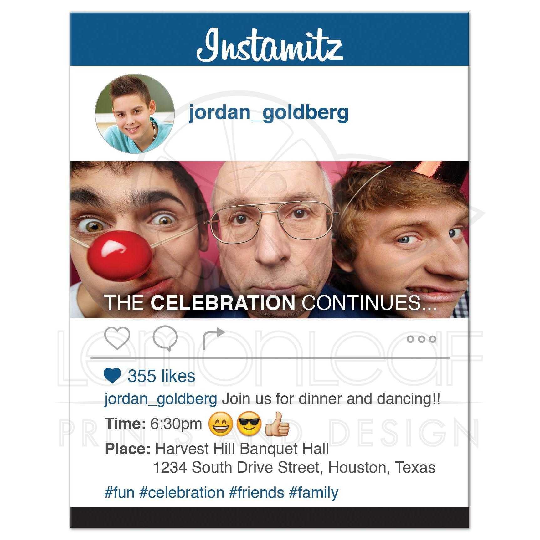 Enclosure Hashtag: Social Media Bar Mitzvah Reception Card