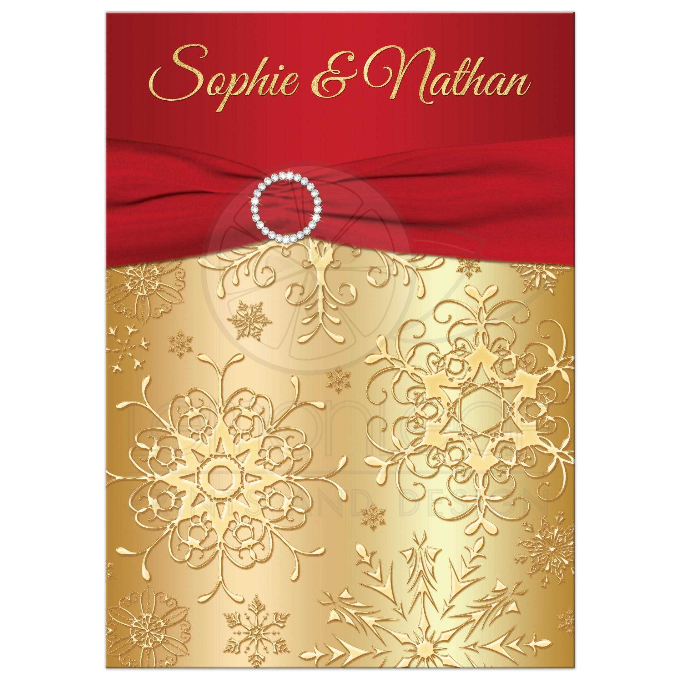 Amazing Great Red And Gold Winter Wedding Invitation With Snowflakes, Ribbon And  Jewel Buckle Brooch.