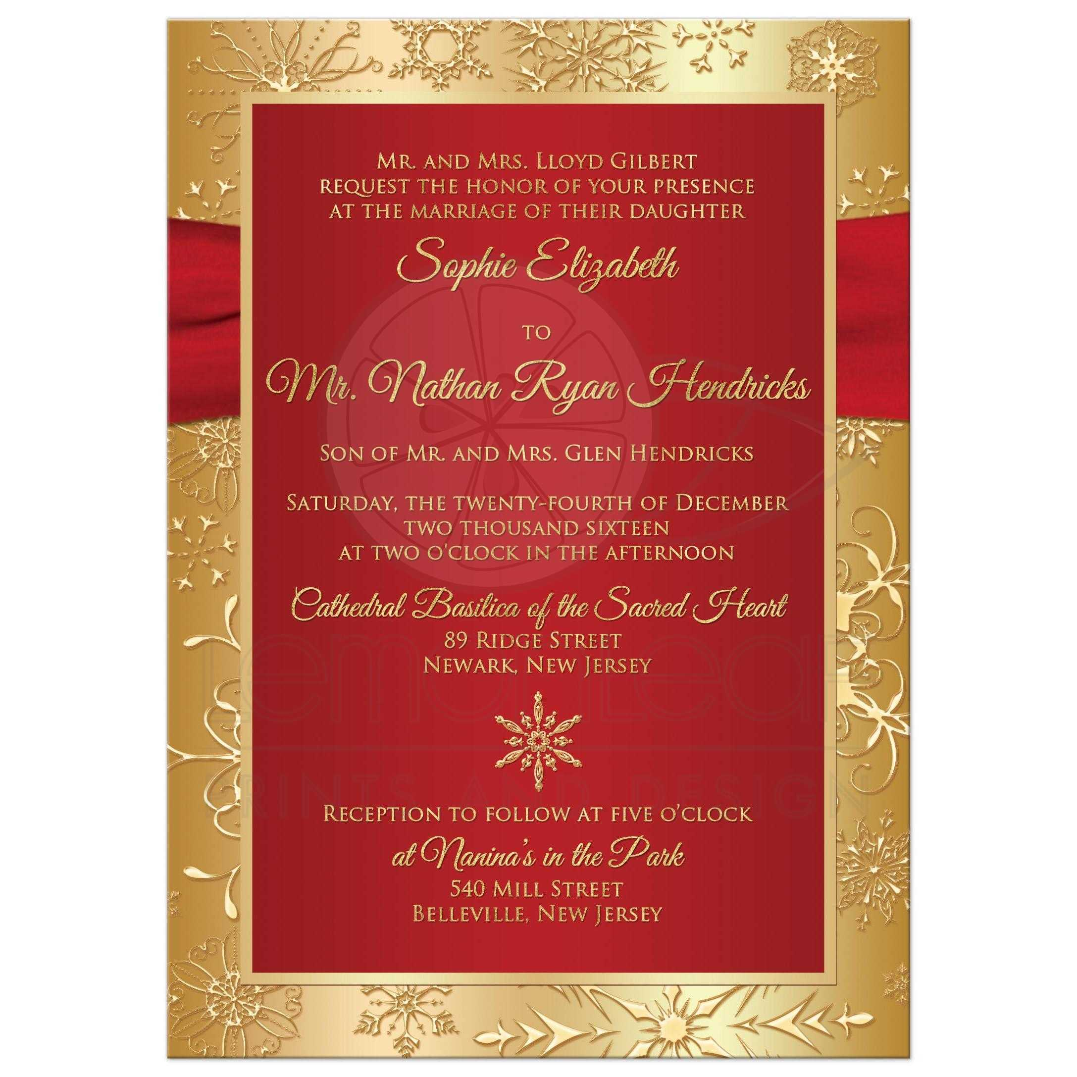 Winter Wedding Invitation | Red, Gold Snowflakes | Printed Ribbon ...