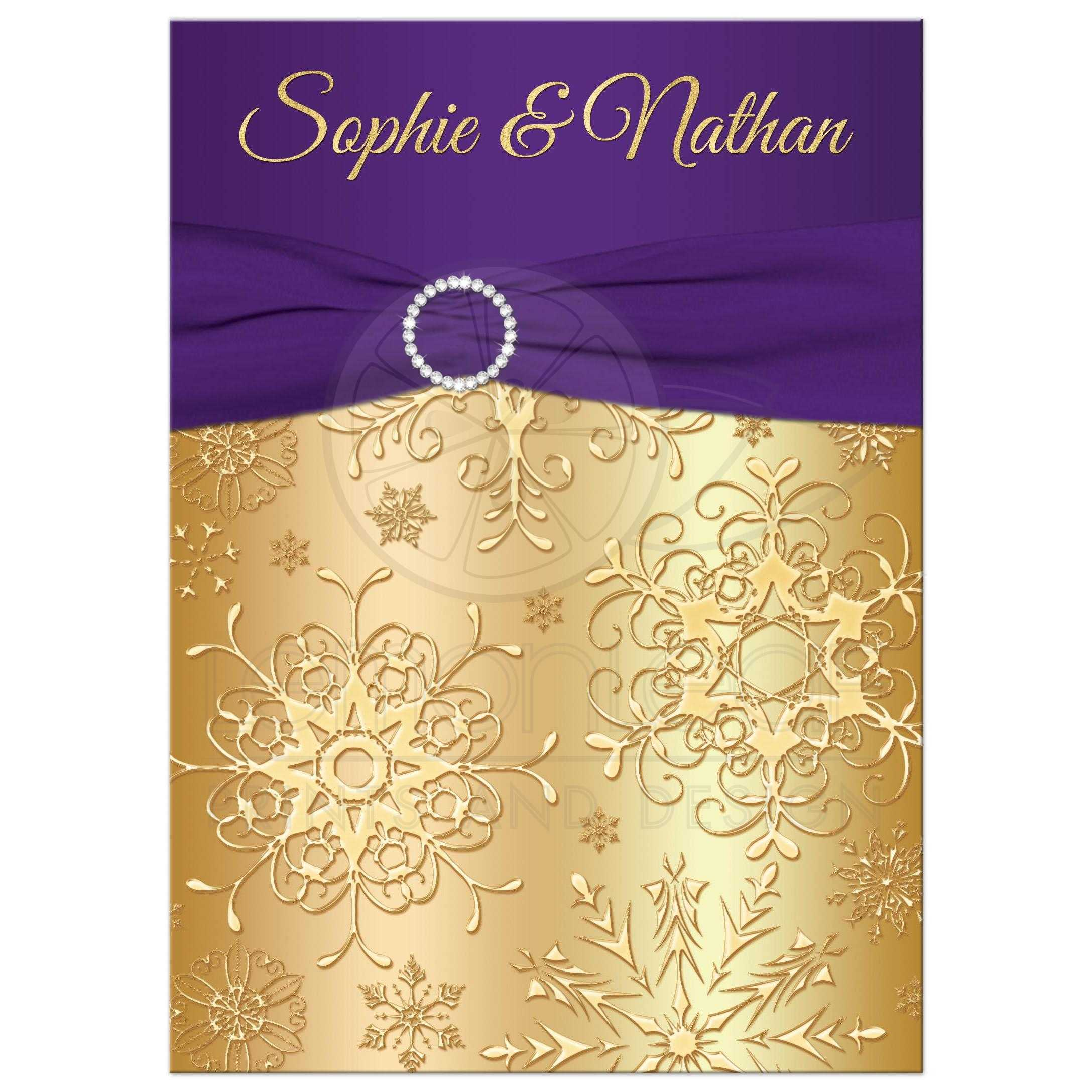 Great Purple And Gold Winter Wedding Invitation With Snowflakes, Ribbon And  Jewel Buckle Brooch.
