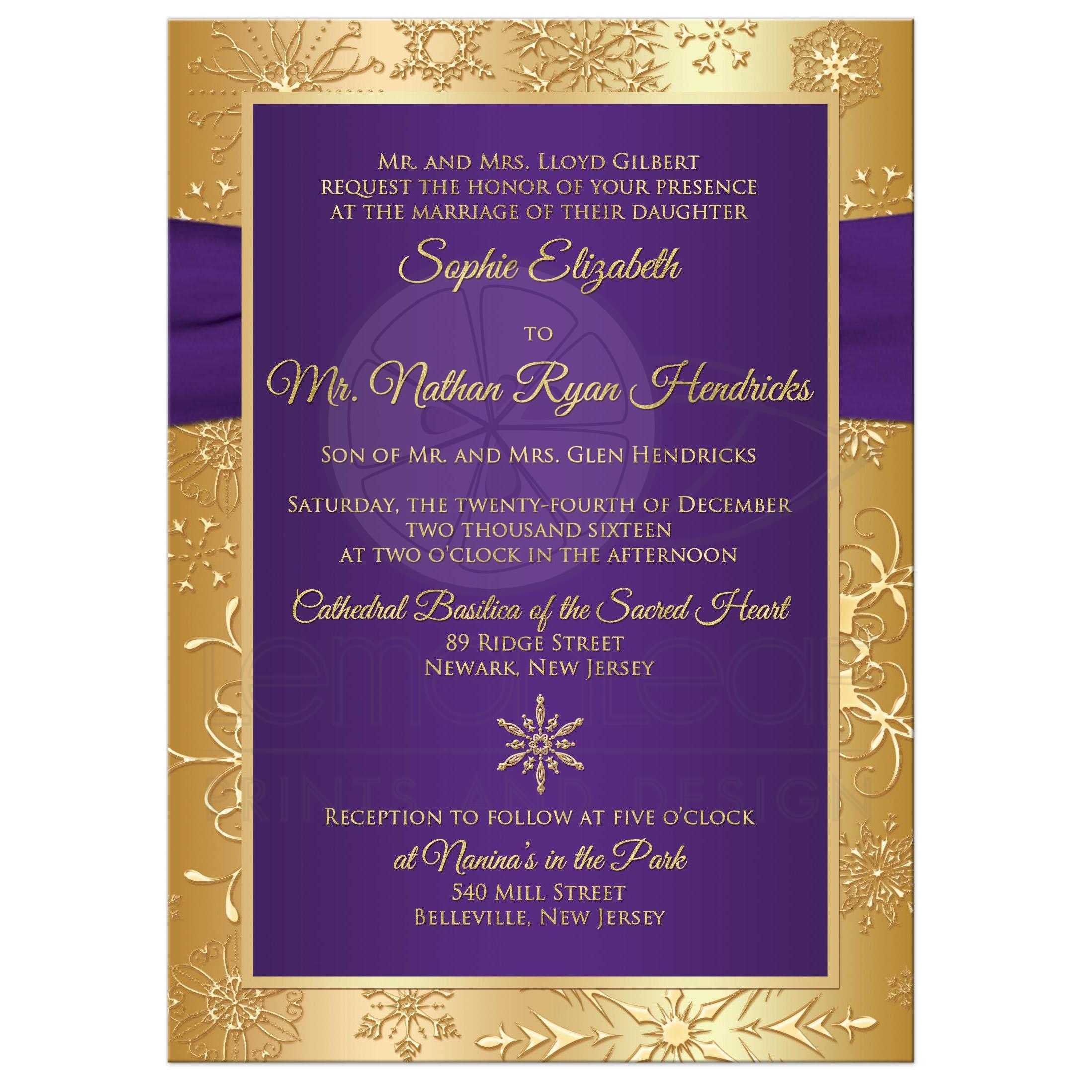 winter wedding invitation purple, gold snowflakes printed Purple Gold Wedding Invitations best purple and gold winter wedding invite with snowflakes, ribbon and jewel buckle brooch purple and gold wedding invitations