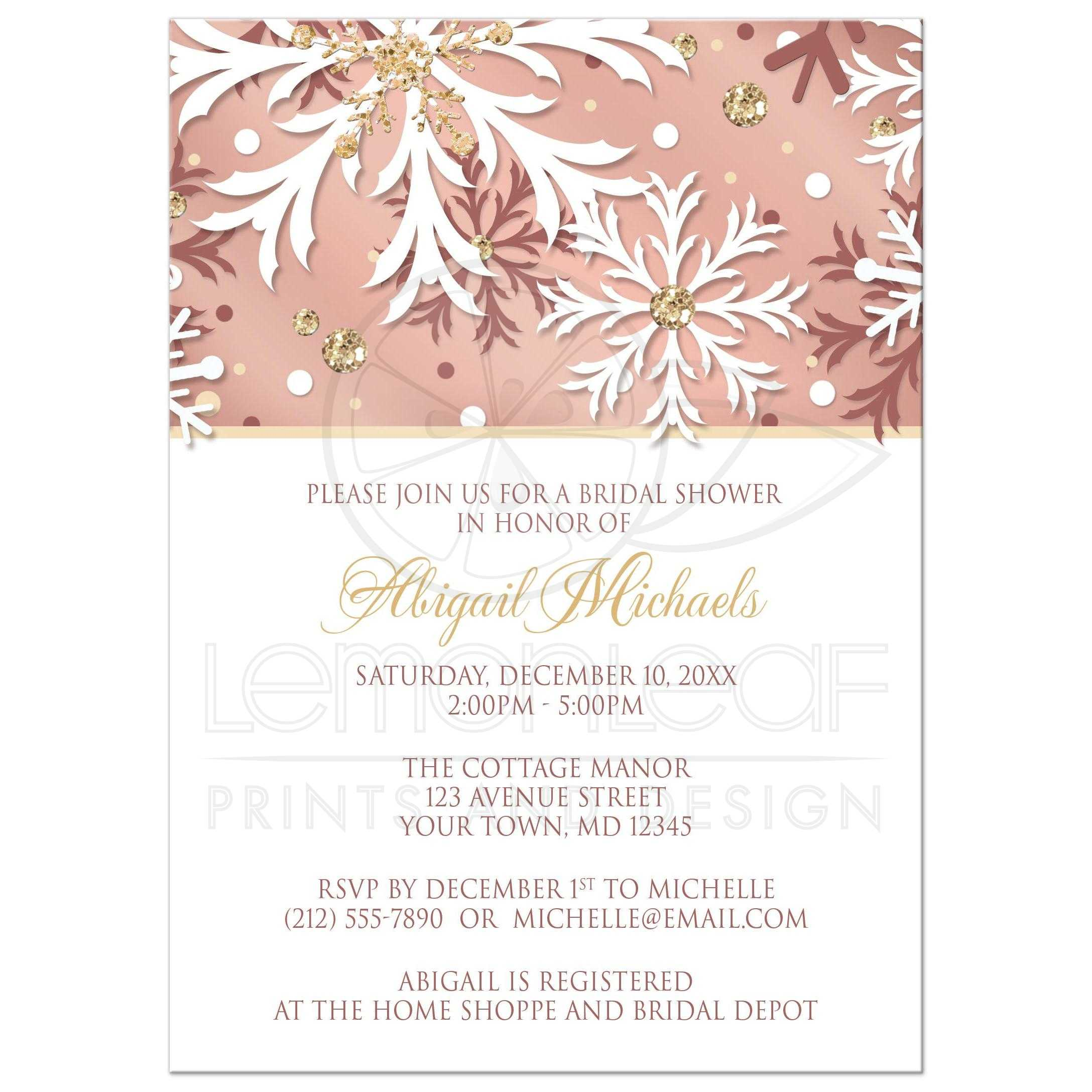 Bridal shower invitations rose gold winter snowflake for Rose gold winter wedding invitations