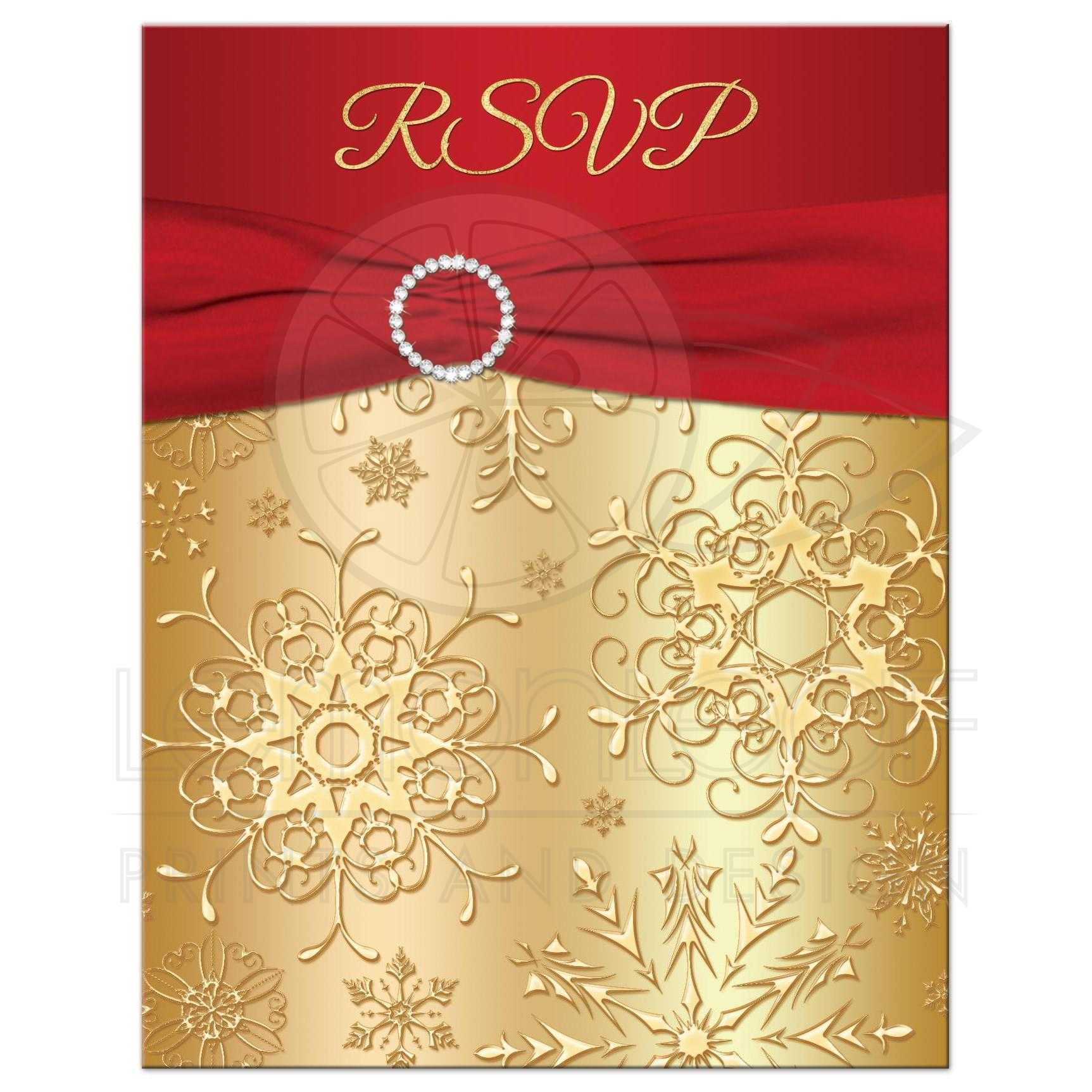 Winter Wedding RSVP Card | Red, Gold Snowflakes | Printed Ribbon, Jewels