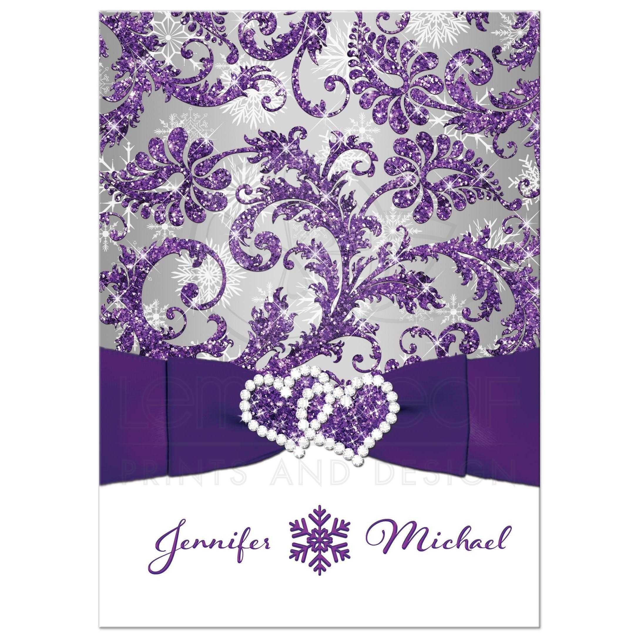 Great Winter Wonderland Wedding Invitation In Ice Purple Silver And White Snowflakes With Ribbon