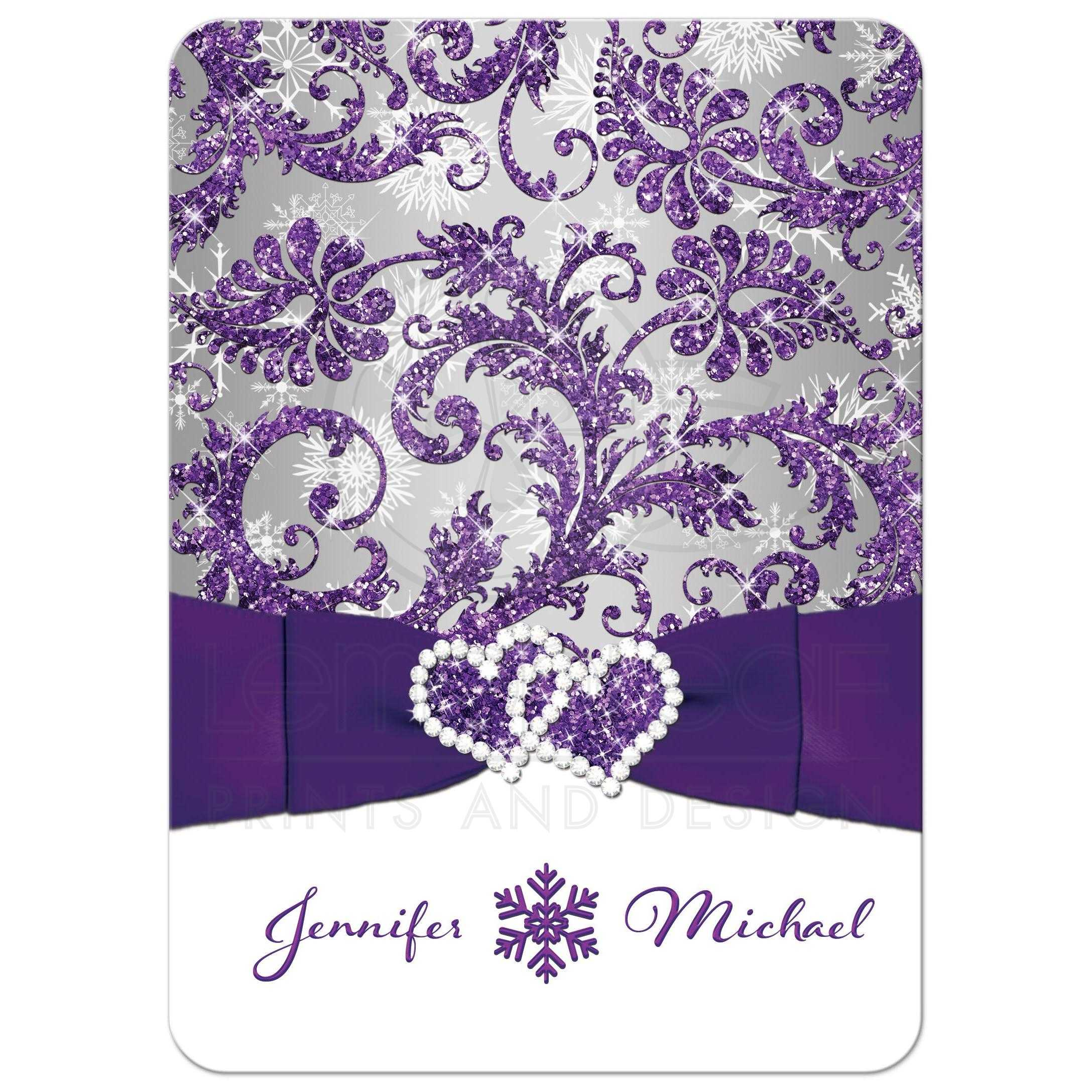 ... Great Winter Wonderland Wedding Invitation In Ice Purple, Silver, And  White Snowflakes With Ribbon ...