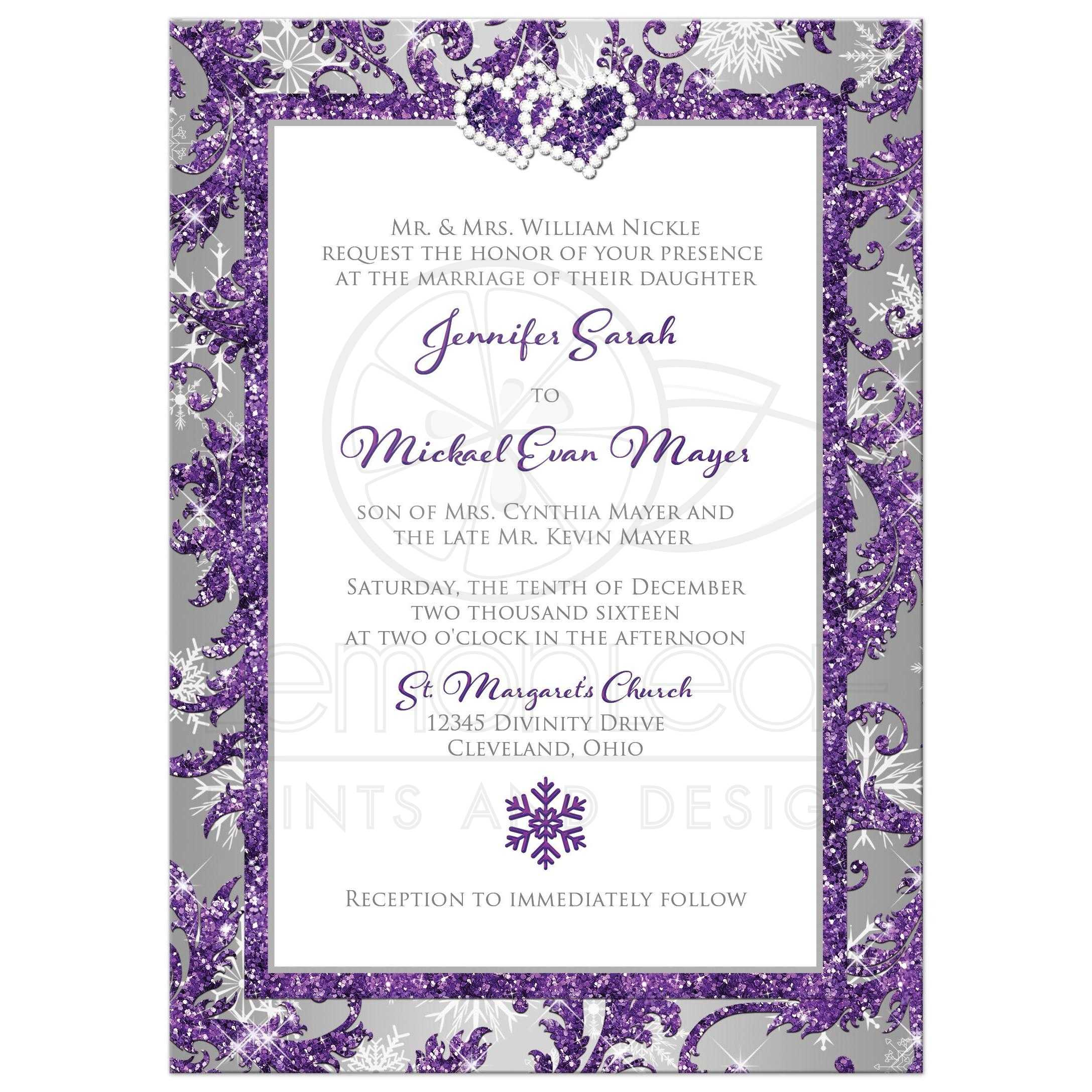 Great Winter Wonderland Wedding Invitation In Ice Purple Silver And White Snowflakes With Joined