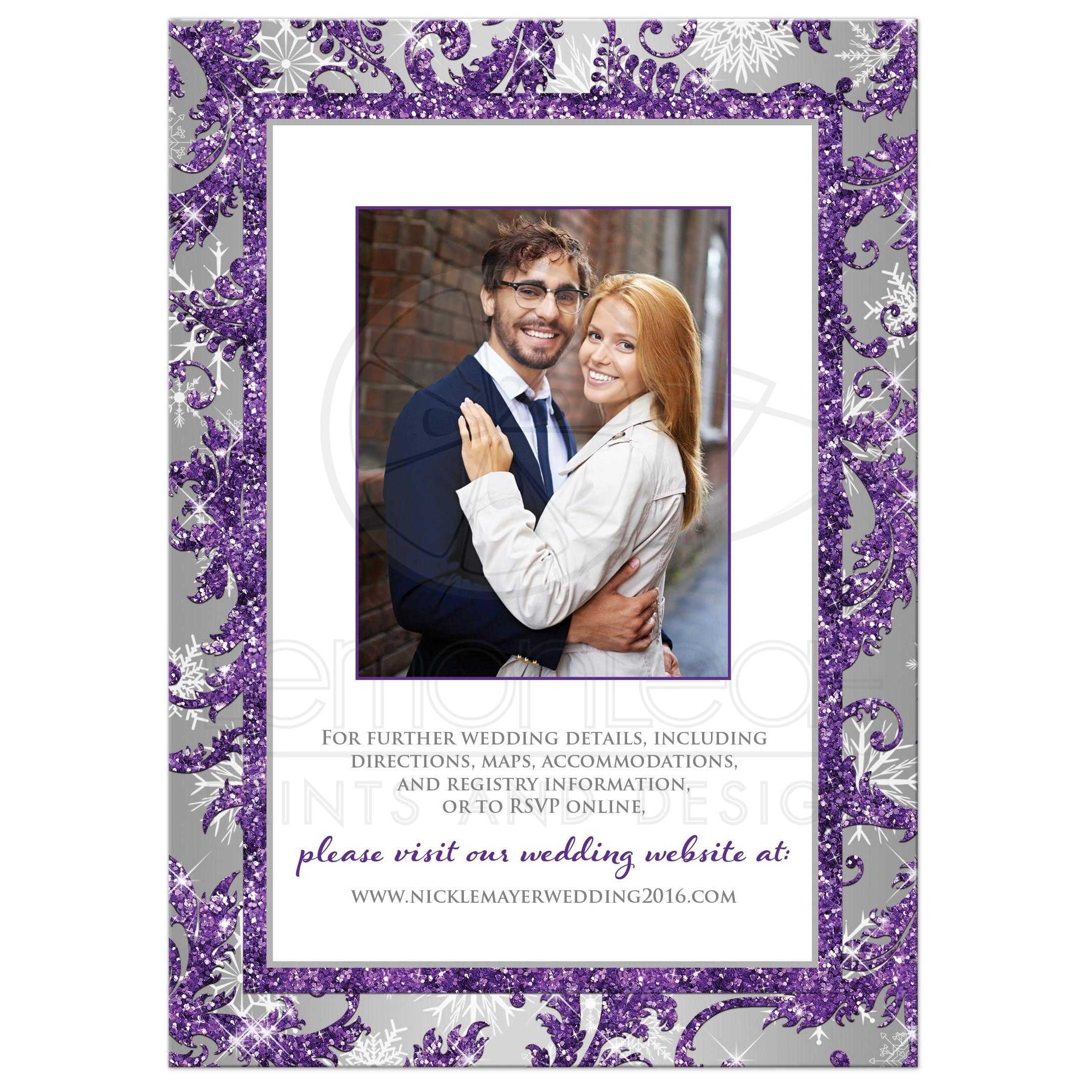 Best Winter Wonderland Wedding Invite In Ice Purple Silver And White Snowflakes With Joined