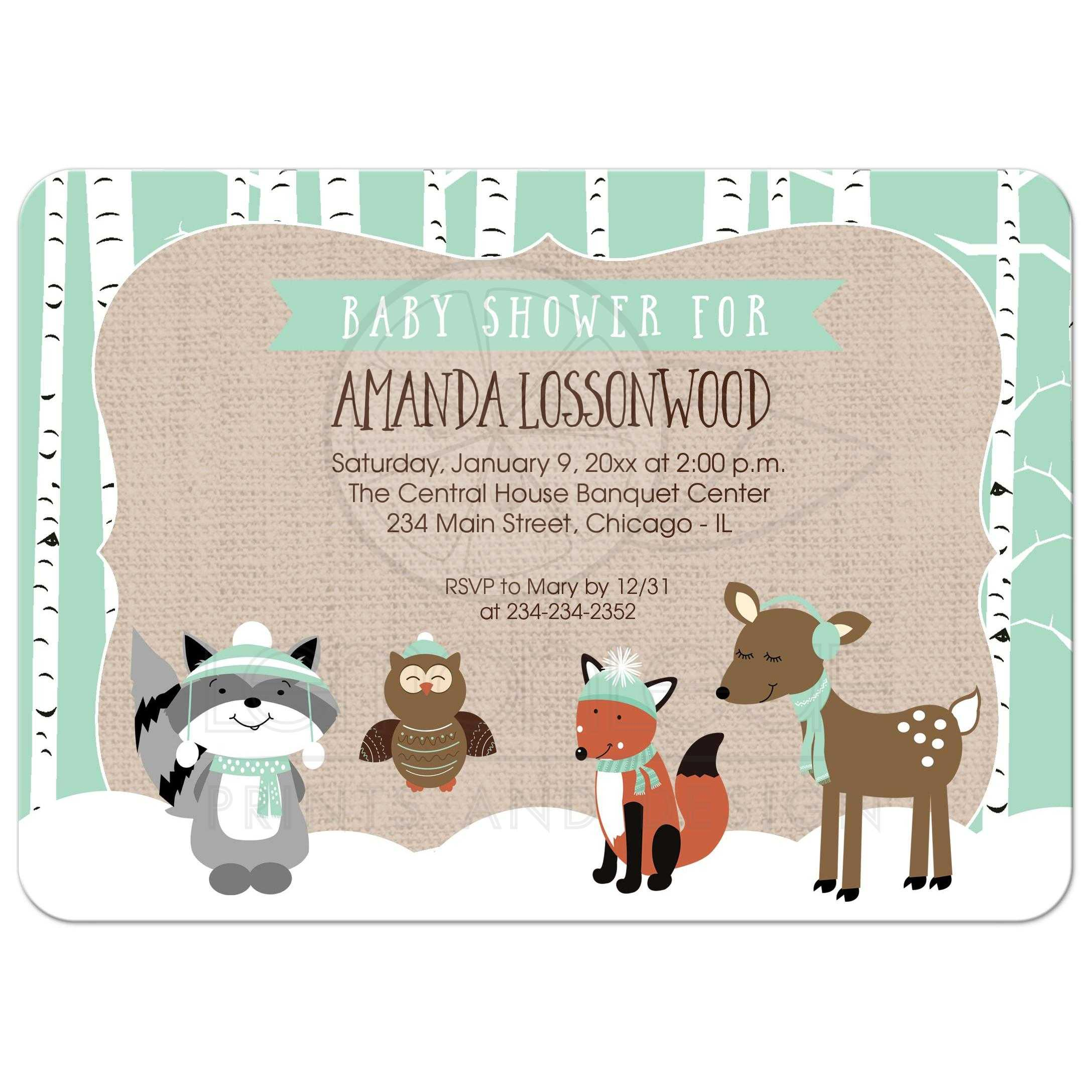 Winter woodland Forest Animals Birch Tree Baby Shower Invitation ...