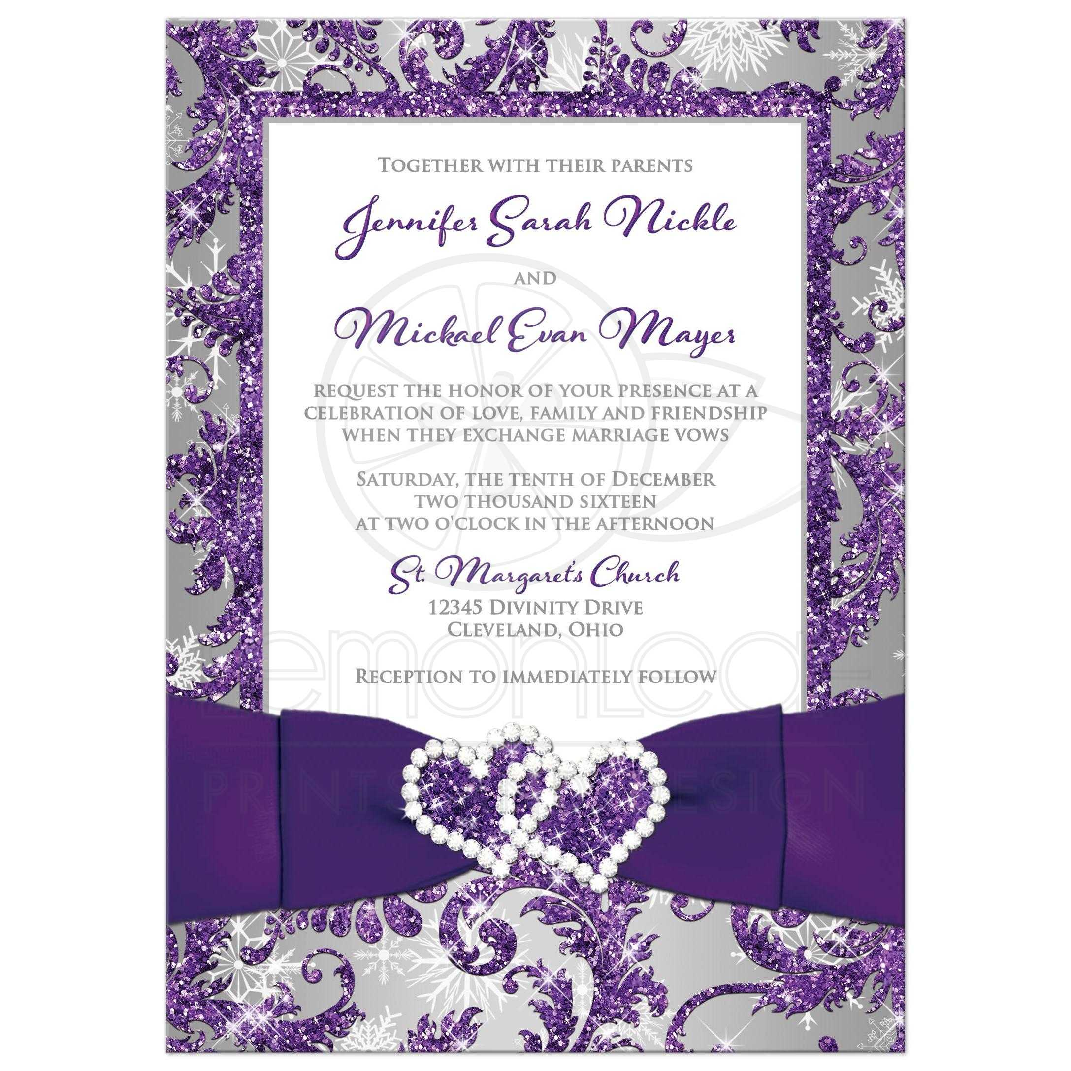 Winter wonderland photo wedding invitation purple silver white great winter wonderland photo wedding invitation in ice purple silver and white snowflakes with junglespirit Image collections
