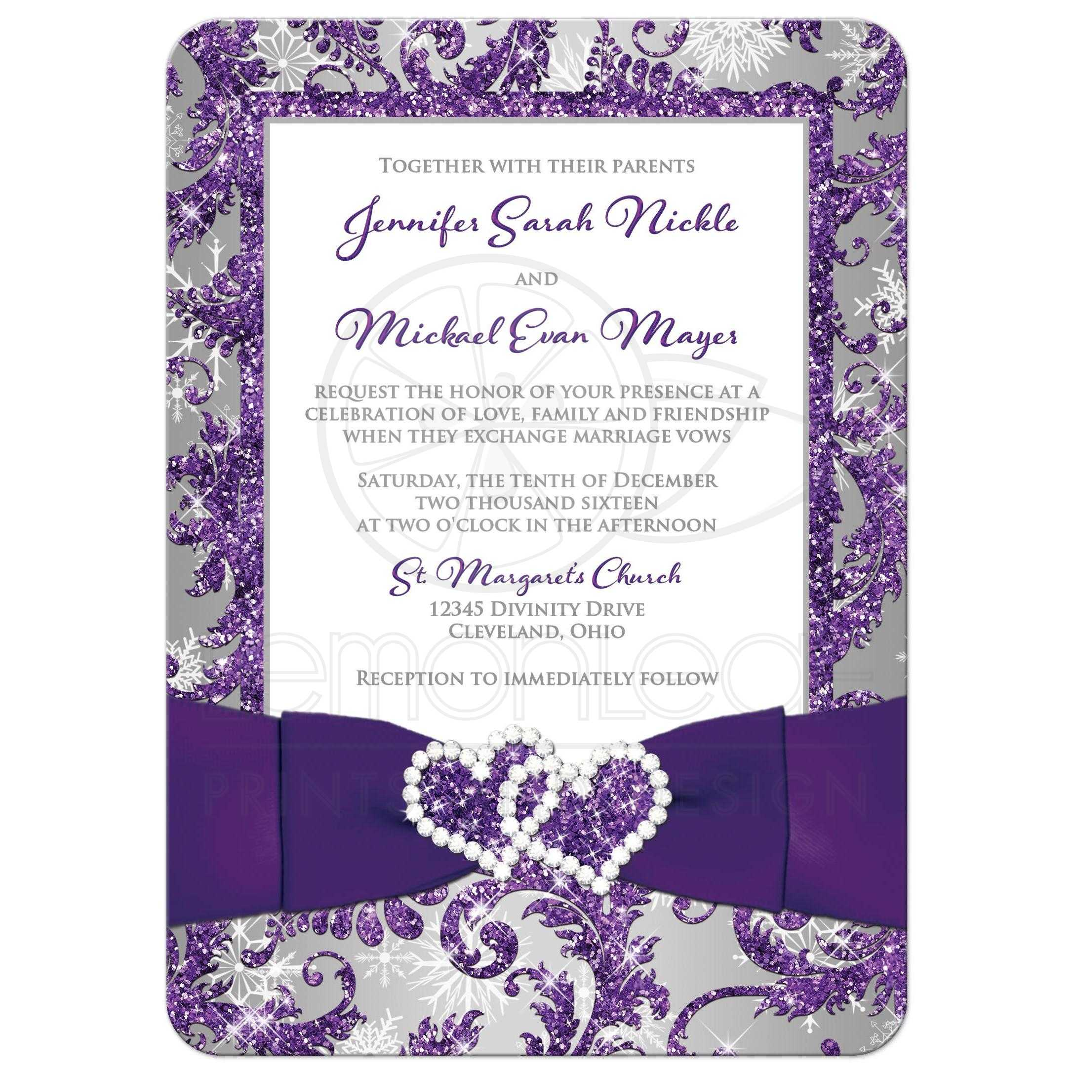 Great Winter Wonderland Photo Wedding Invitation In Ice Purple Silver And White Snowflakes With