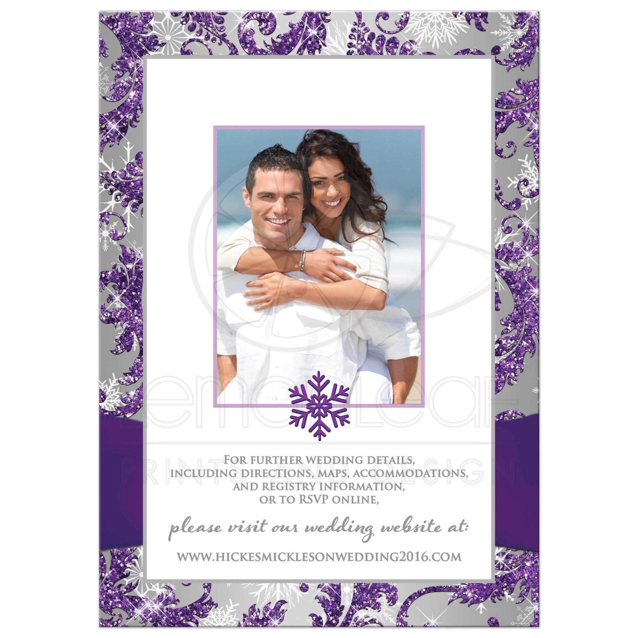 ... Winter Wonderland Wedding Invite With Photo Template In Ice Purple,  Silver, ...
