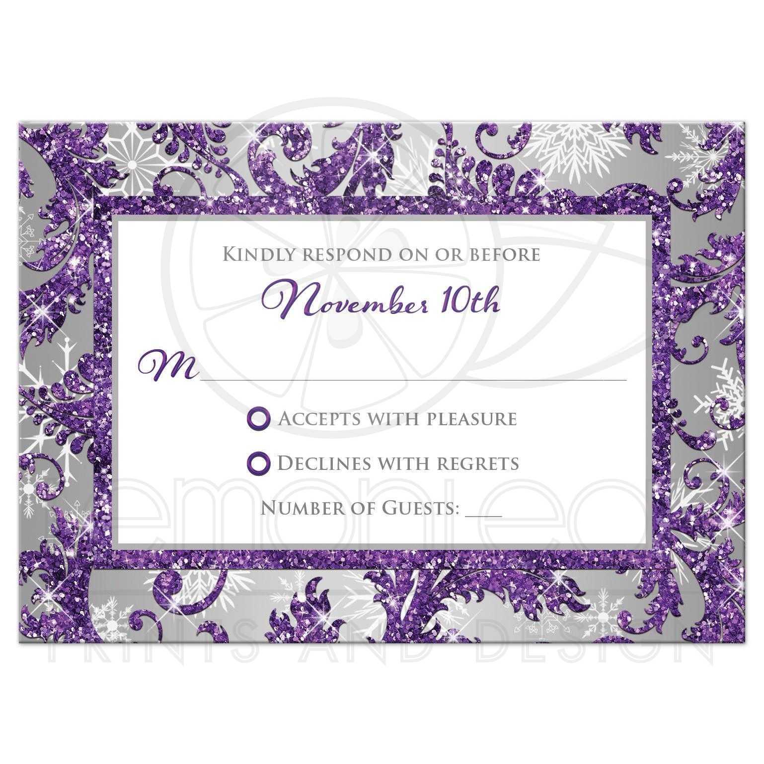 Winter Wonderland Wedding RSVP Card 2   Purple, Silver, White ...