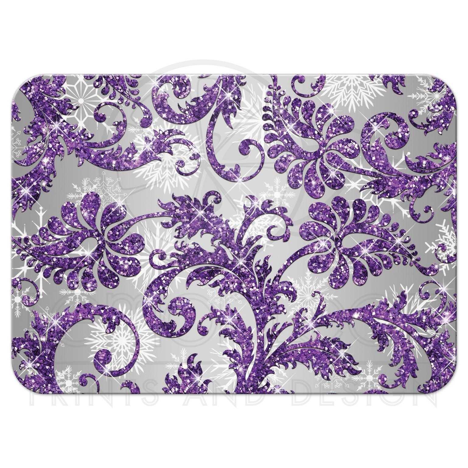 Winter wonderland wedding rsvp card 2 purple silver for Purple and silver wallpaper