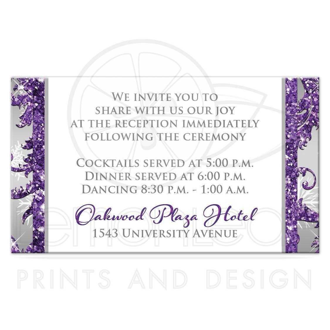Winter Wonderland Wedding Reception Card | Purple, Silver, White ...