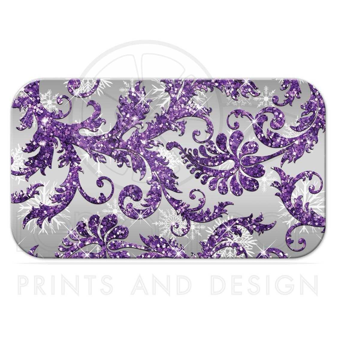 Purple And Silver Wedding Backgrounds: Winter Wonderland Wedding Reception Card