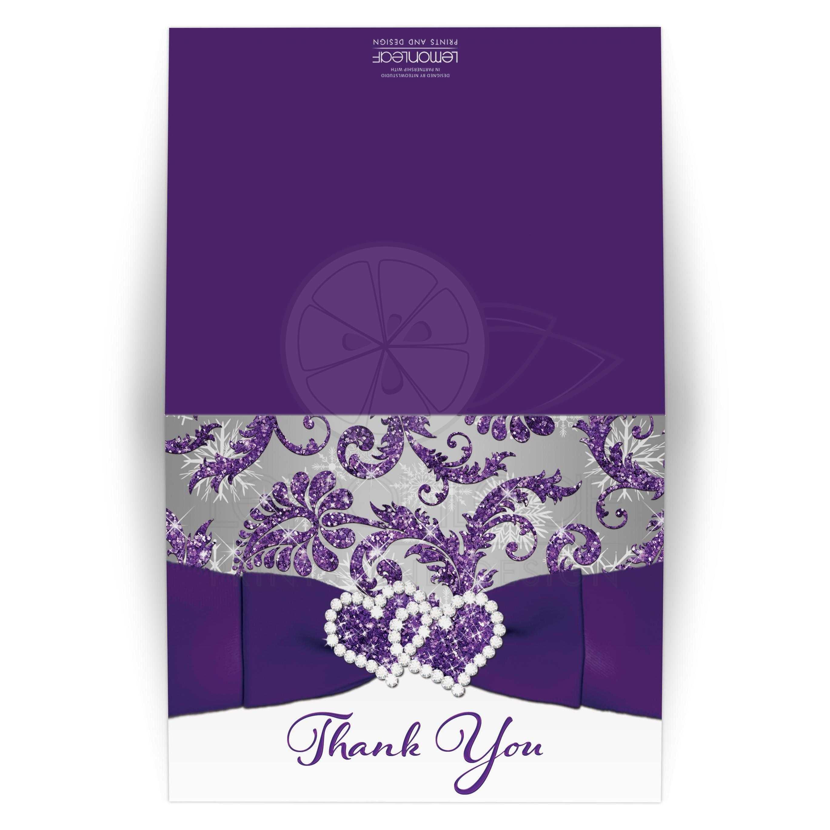 Winter Wonderland Wedding Thank You Card Purple Silver White