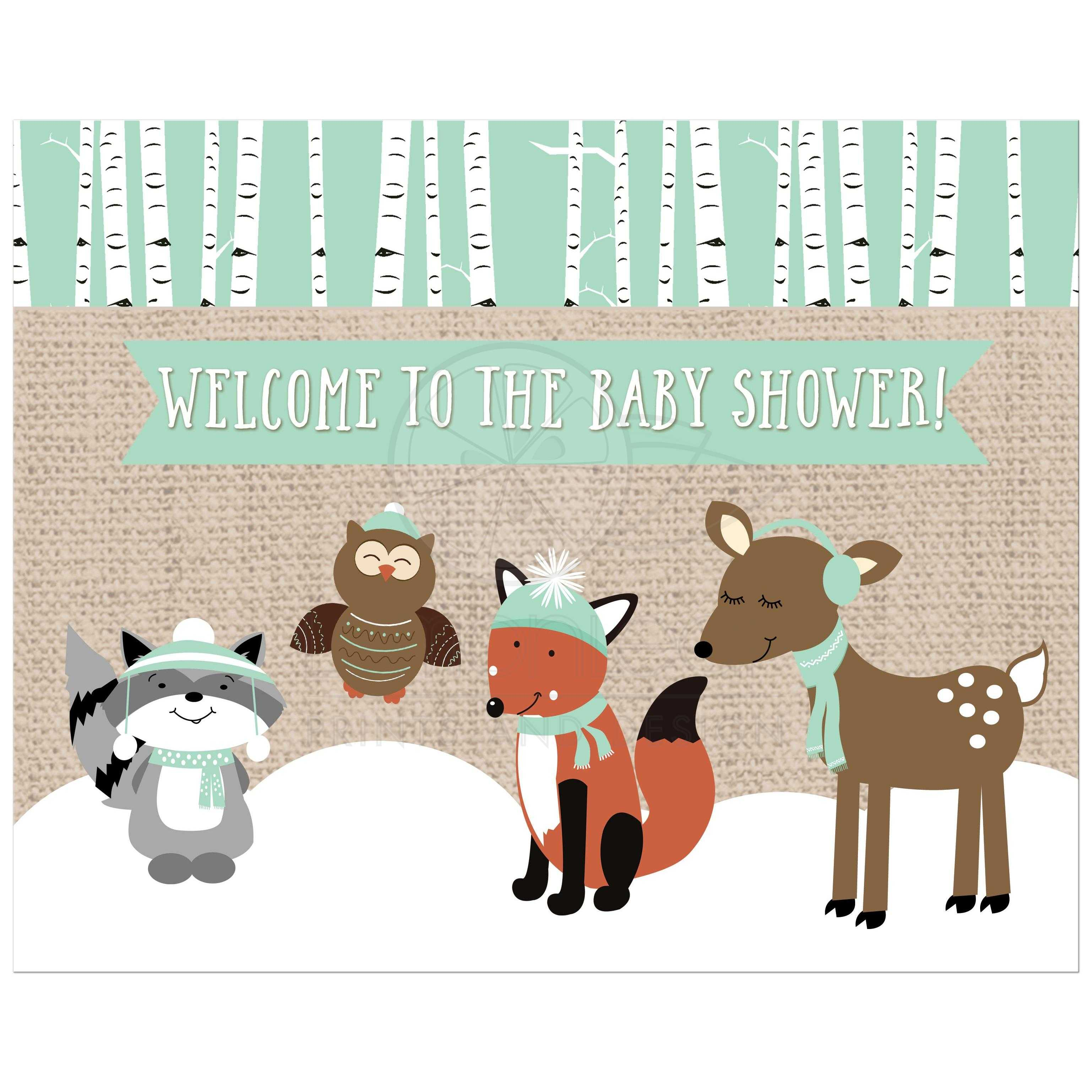 Winter Woodland Neutral Forest Animals Baby Shower Sign 8x10
