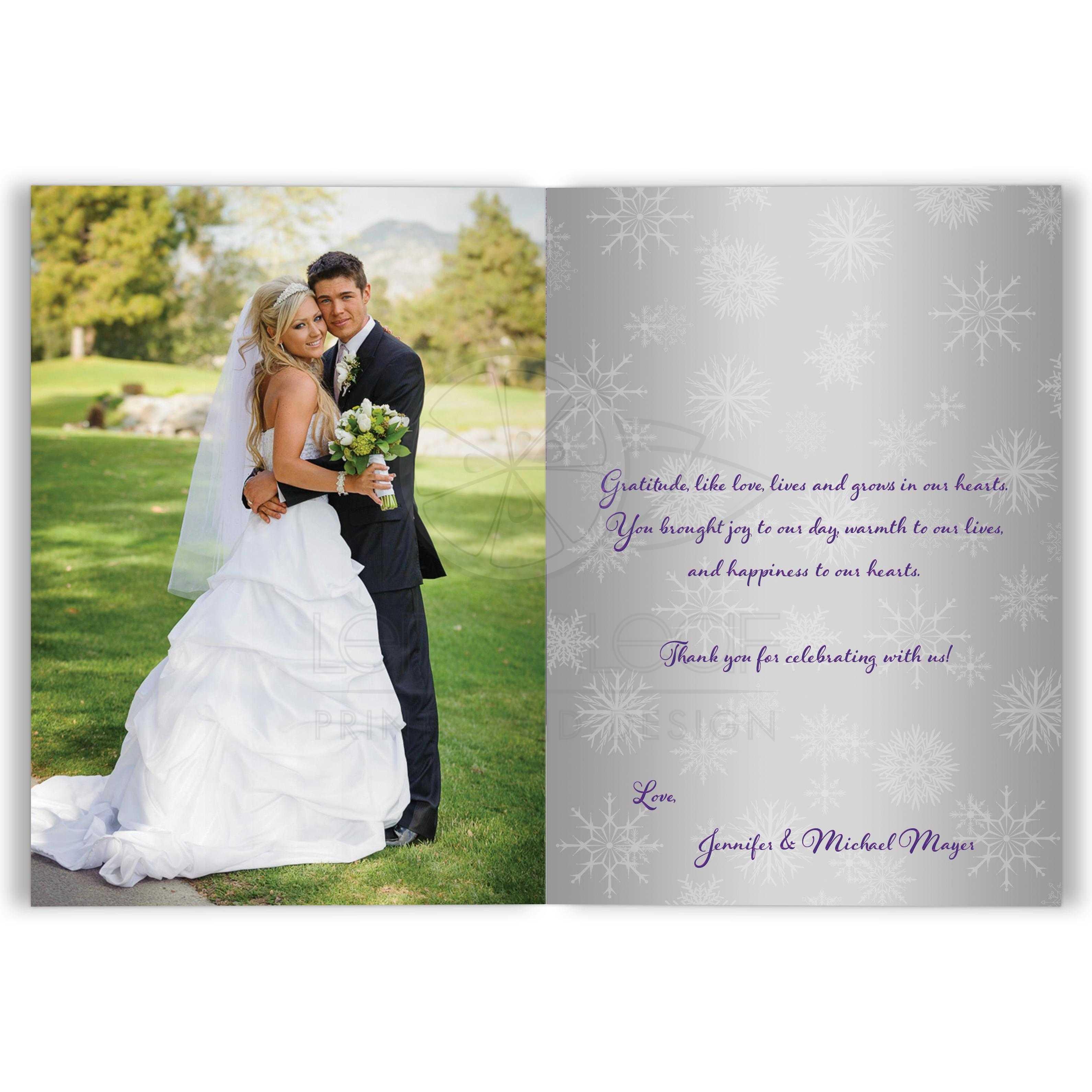 Double PHOTO Wedding Thank You Card Purple Silver White