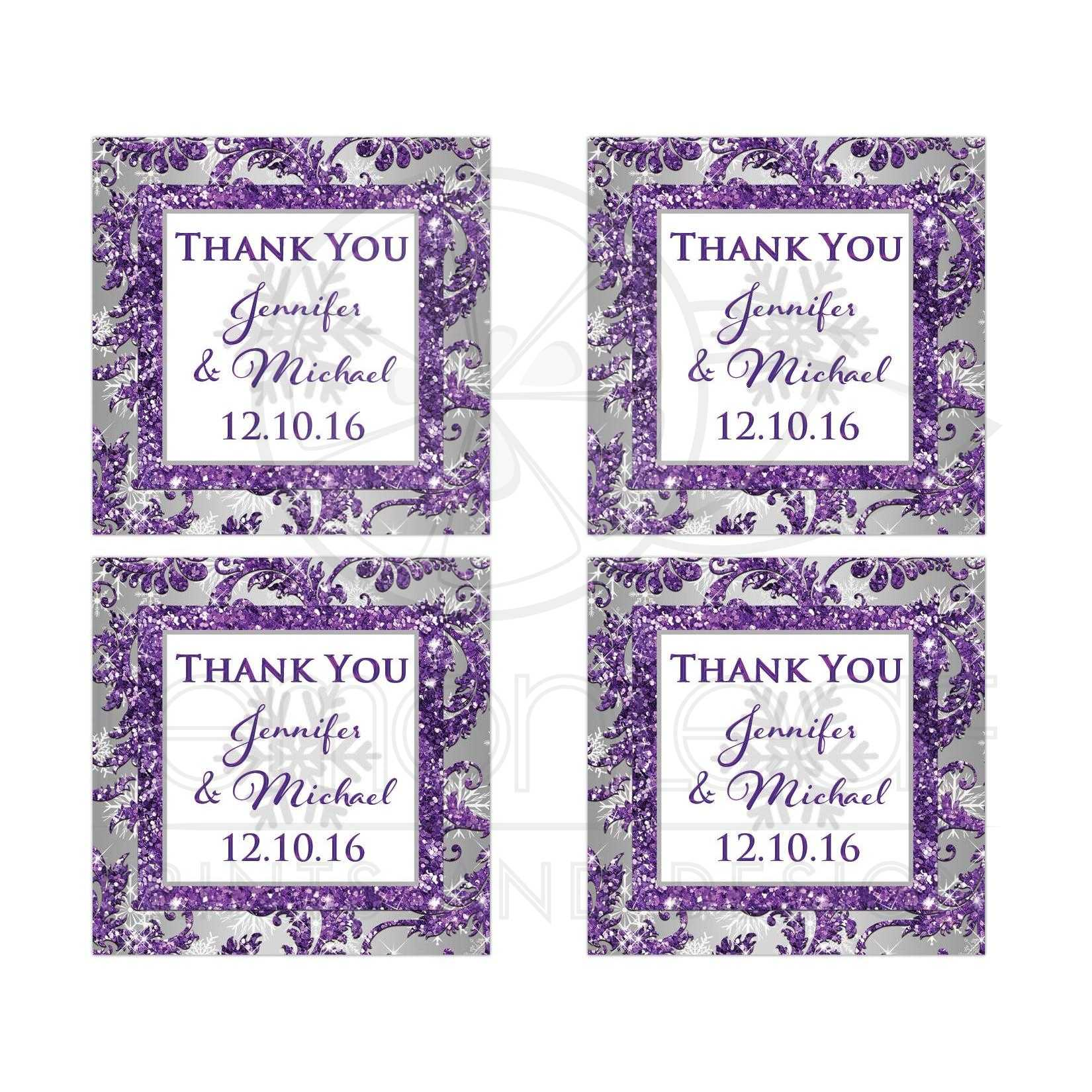 Best Personalized Purple Silver Grey And White Snowflakes Faux Glitter Winter Wonderland Wedding