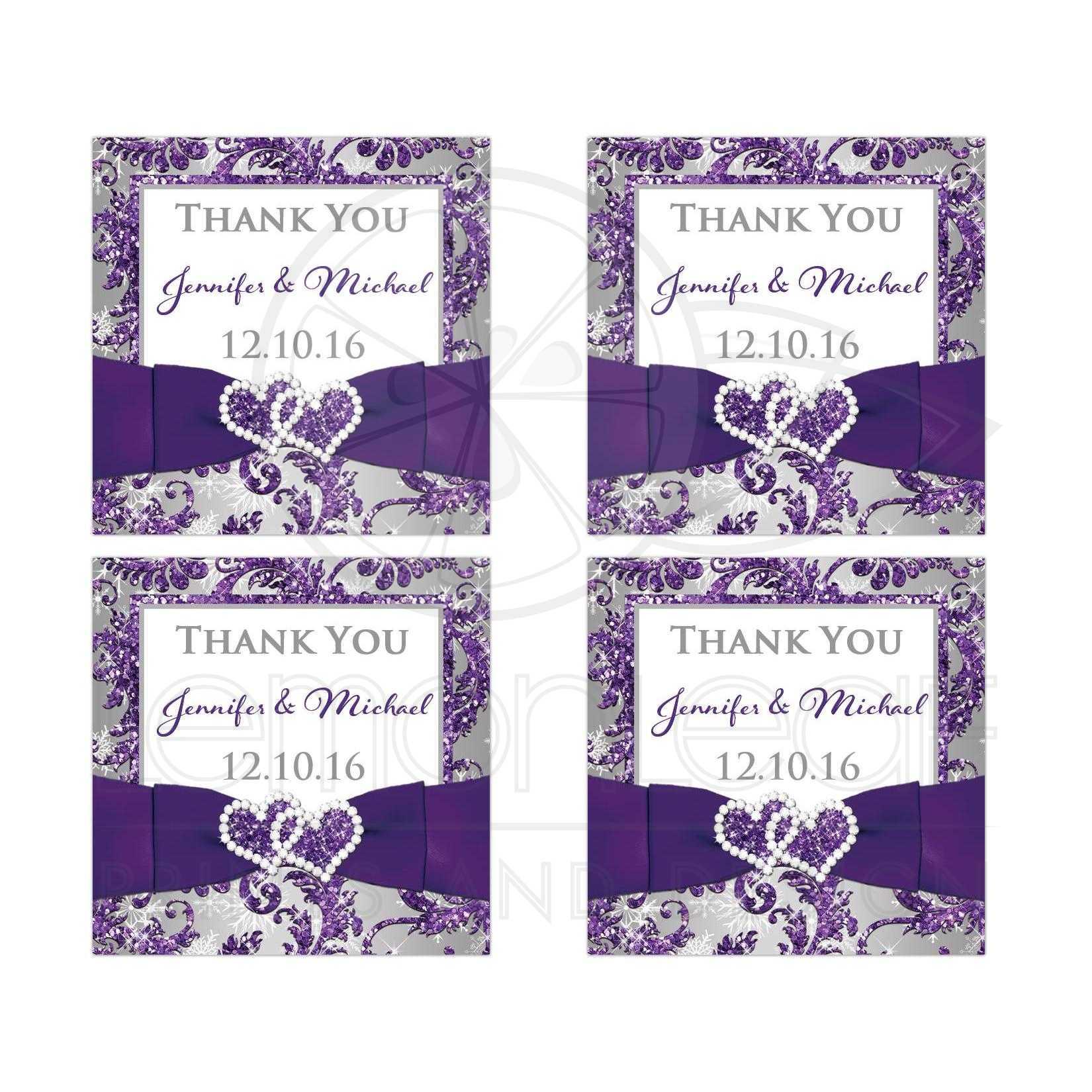 Personalized Winter Wonderland Wedding Favor Sticker   Purple ...