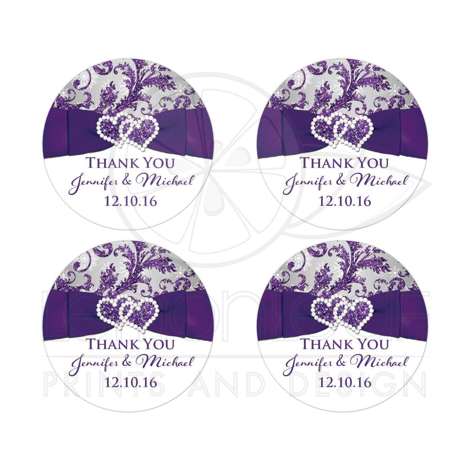 Personalized Wedding Favor Sticker Purple Silver White