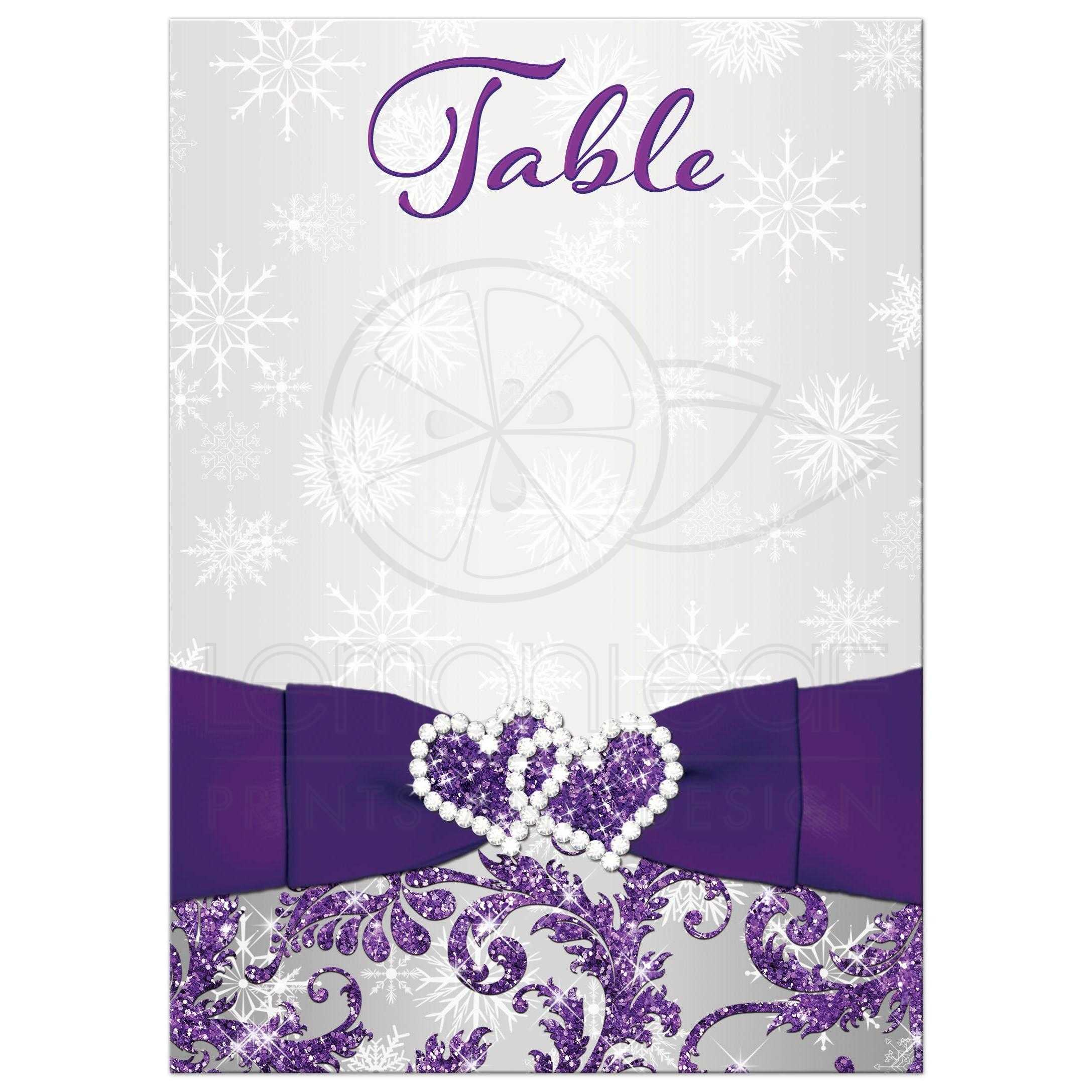 ADD YOUR OWN NUMBERS DIY Table Card   Purple, Silver, White ...