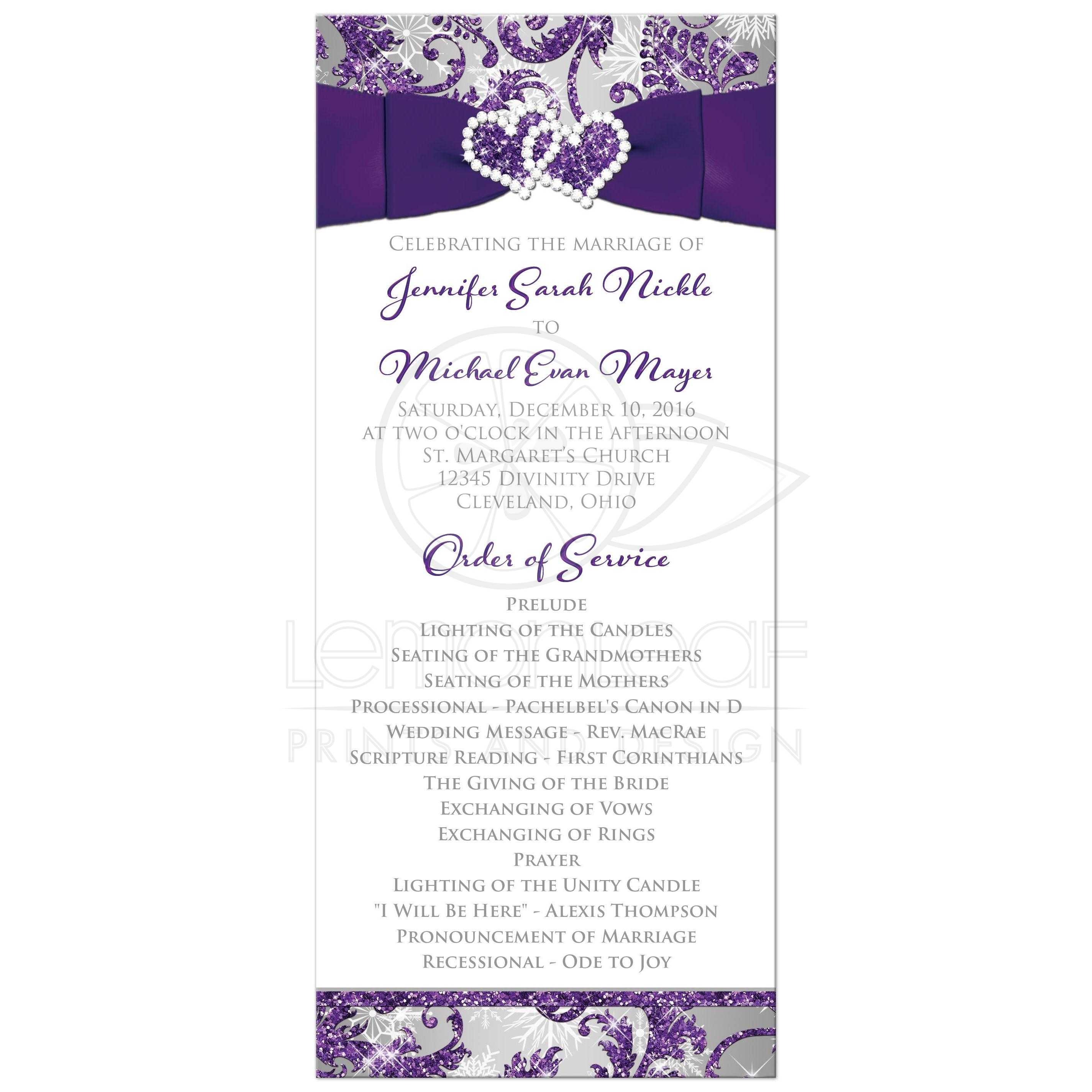 Winter Wonderland Wedding Program | Purple, Silver, White Snowflakes ...
