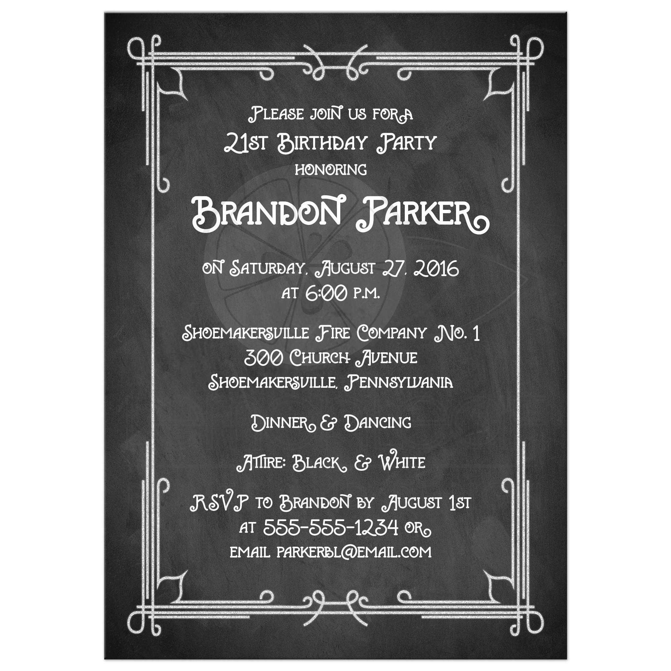 Great Black And White Chalkboard Art Deco Scrolls 21st Birthday Party Invitation With Photo Template