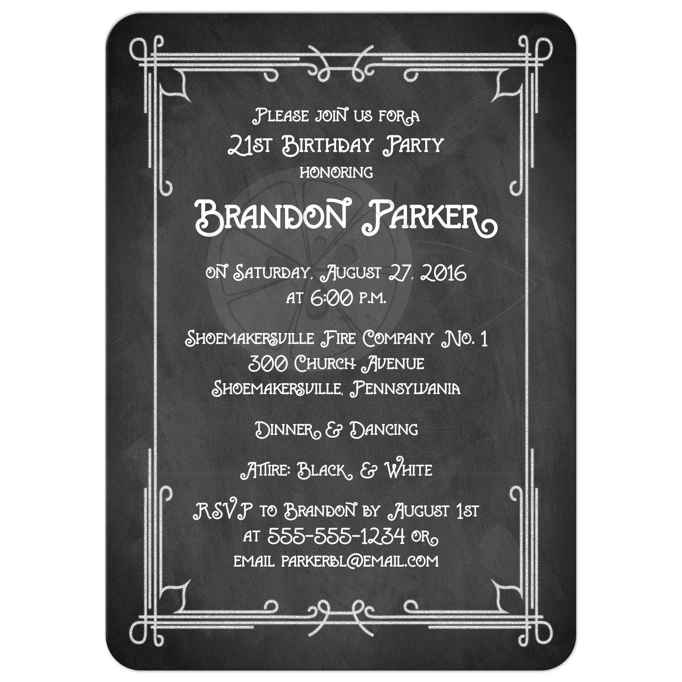 21st birthday party photo invitation black and white chalkboard great black and white chalkboard art deco scrolls 21st birthday party invitation with photo template filmwisefo