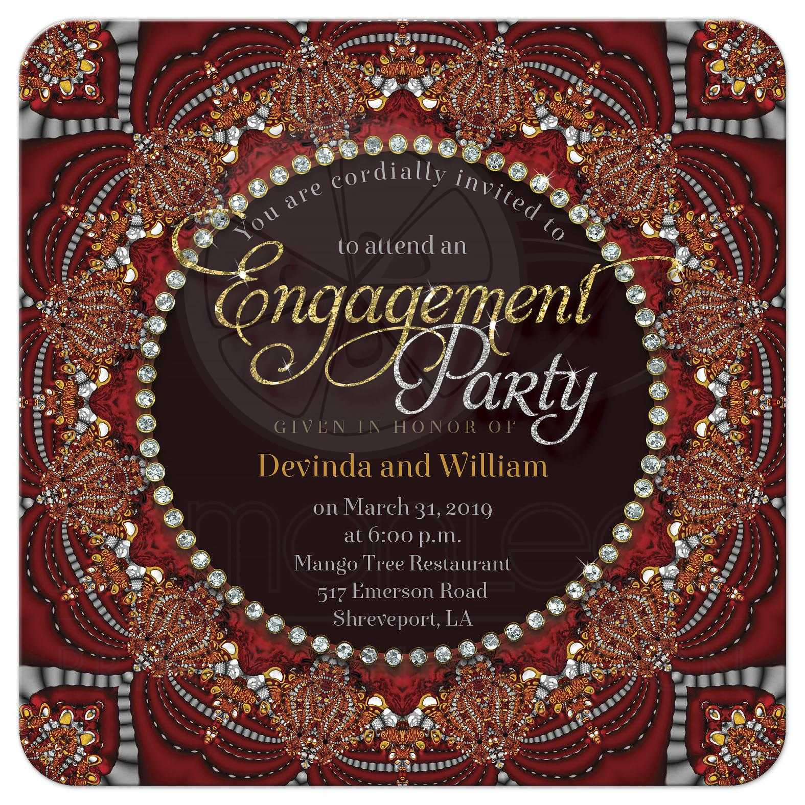 Exotic Bohemian + Indian Fusion Engagement Party Invitation