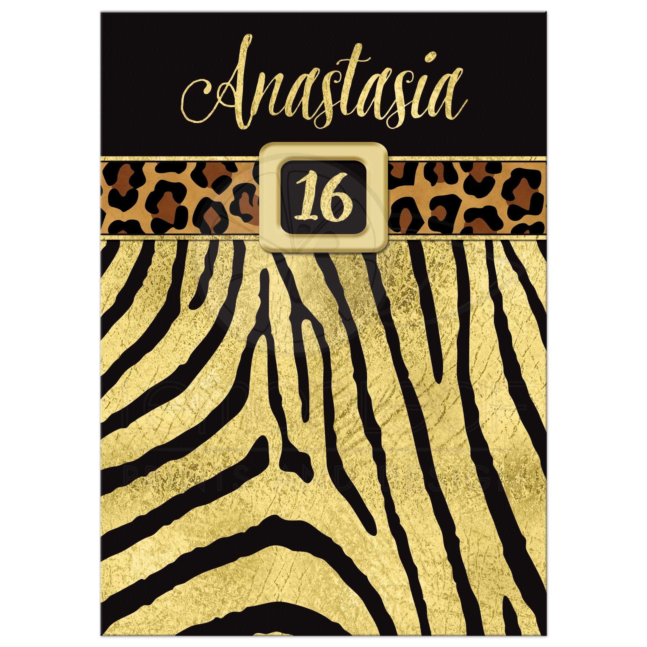 Animal Prints Part - 37: Great Black And Gold Zebra And Leopard Wild Animal Prints 16th Birthday  Party Invitation.