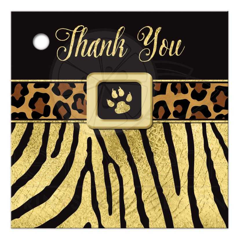b8f4363720 Great black and gold zebra and leopard wild animal prints 16th birthday  party favor tag.