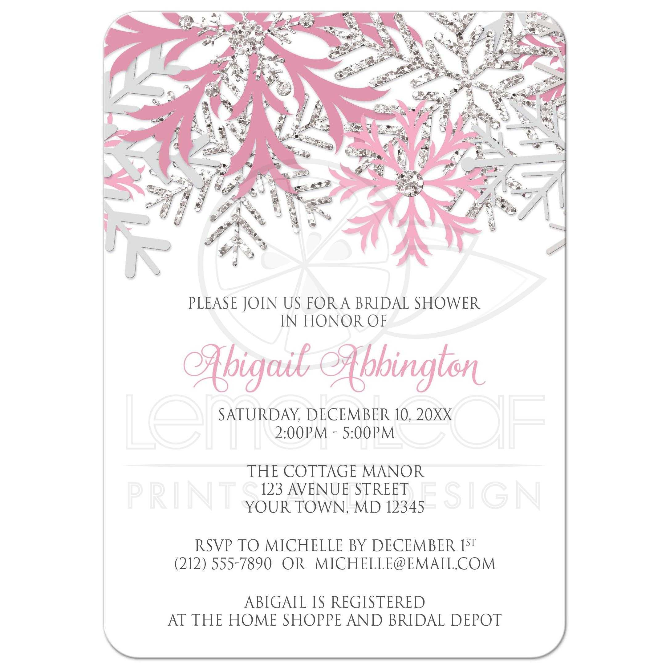 Shower Invitations Winter Snowflake Pink Silver