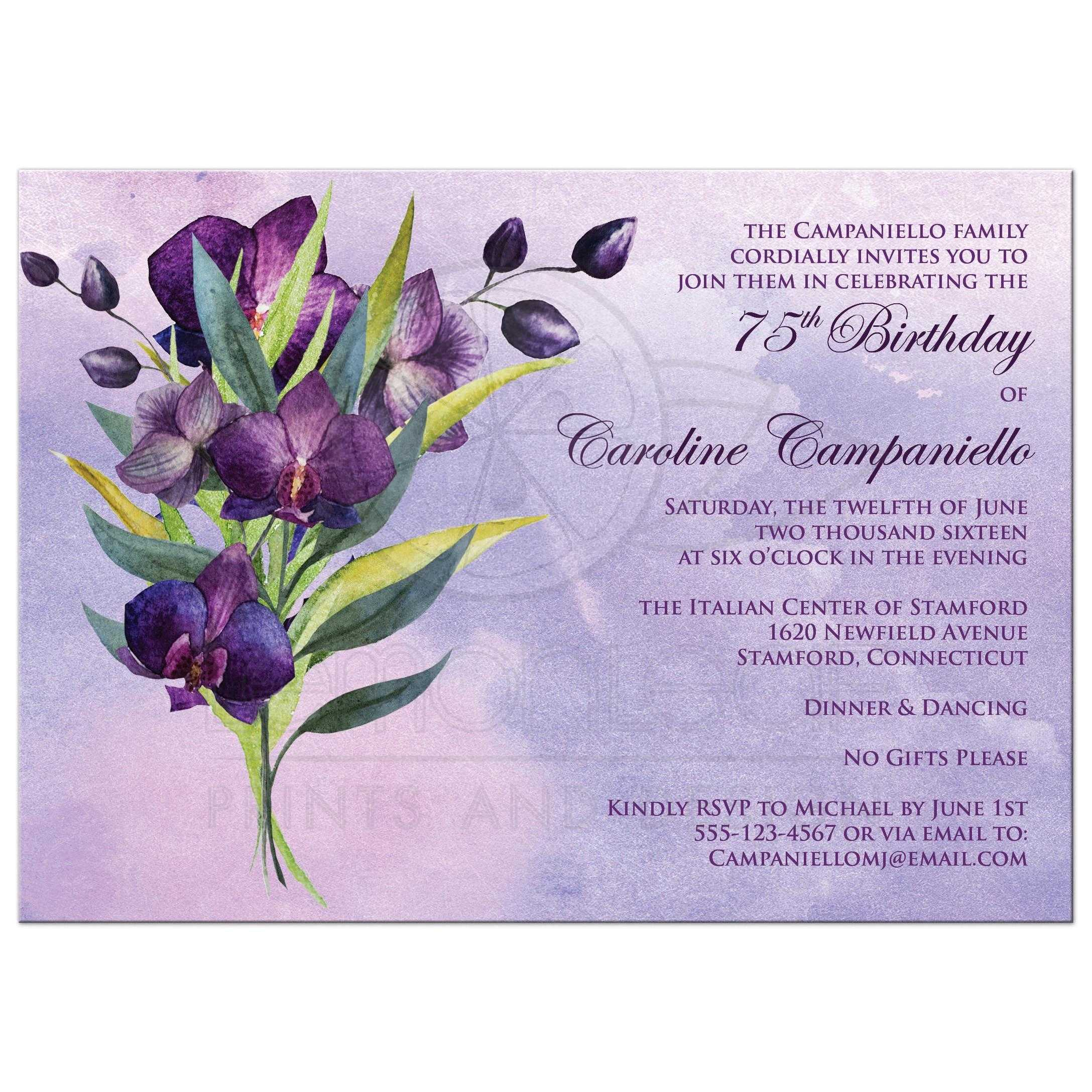 75th birthday party invitation purple orchids green foliage great purple orchids watercolor 75th birthday party invitation with green and yellow foliage stopboris