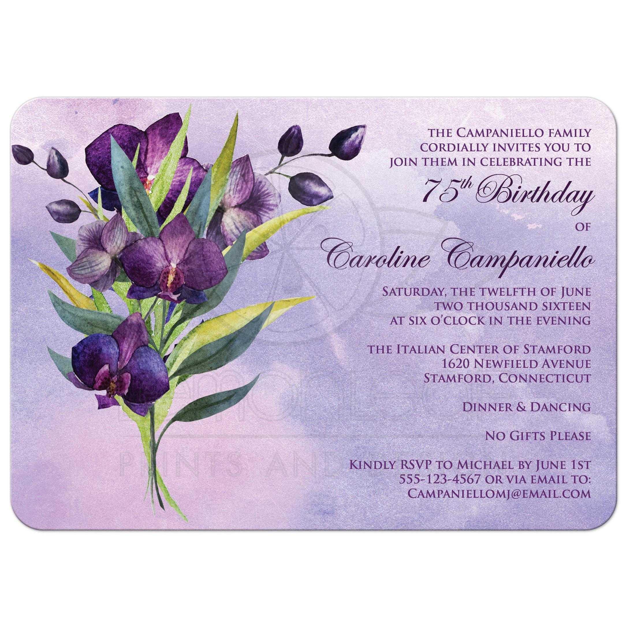 75th Birthday Party Invitation Purple Orchids Green Foliage