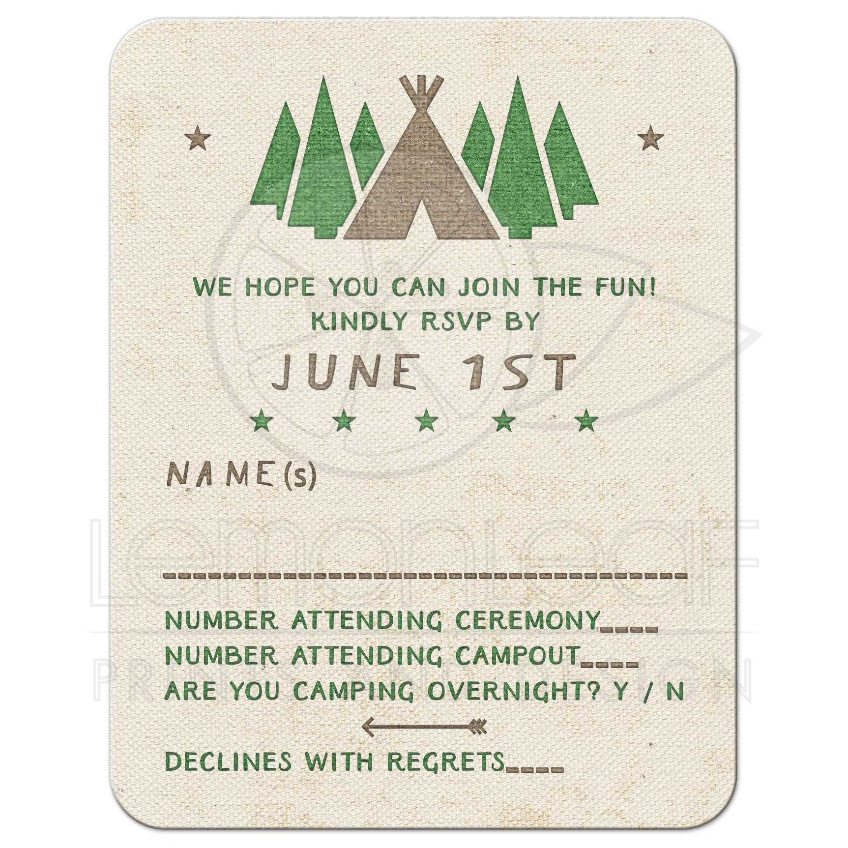 Camping Bar Mitzvah RSVP Card Tent Canvas Style